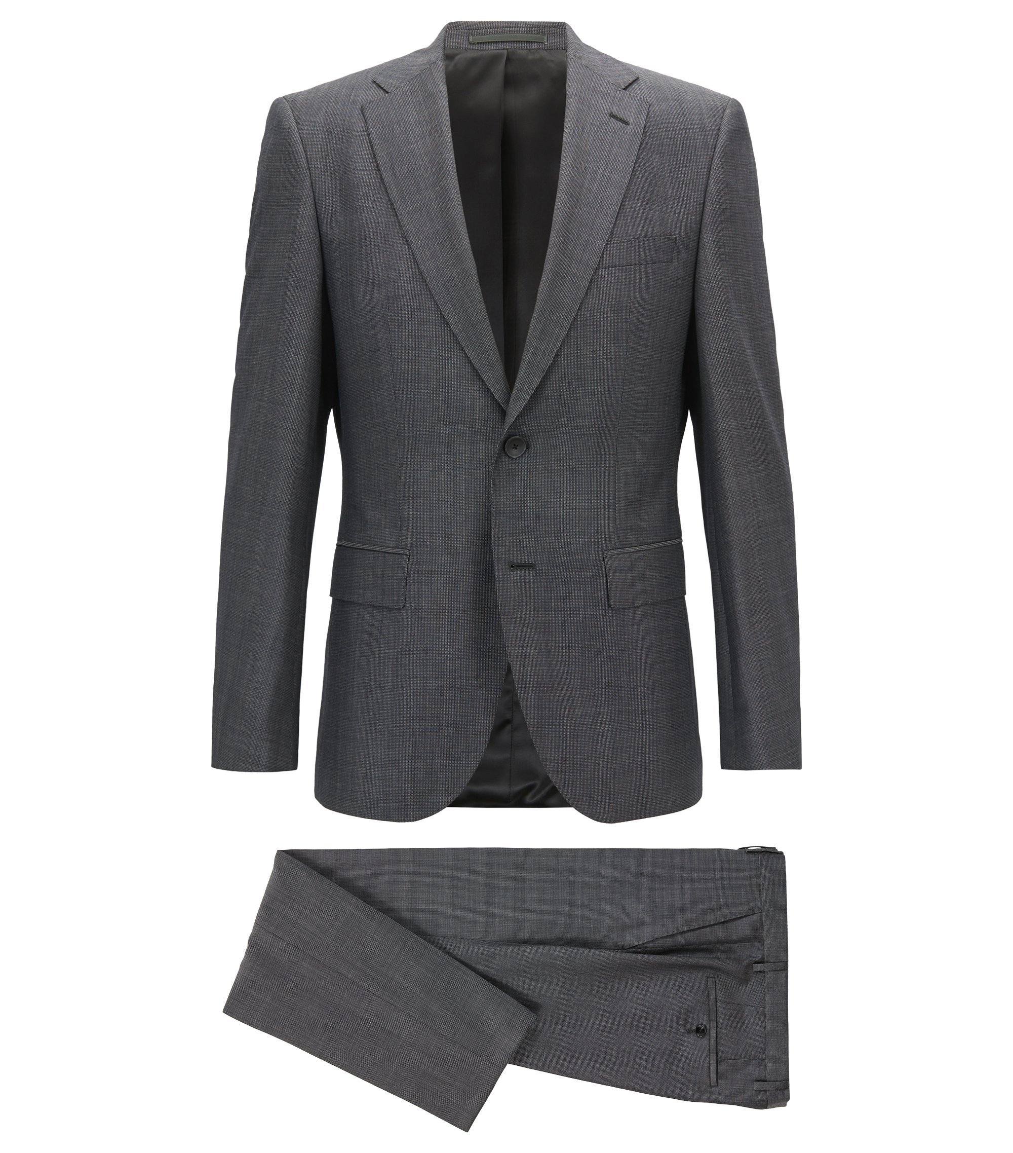 Regular-fit suit in melange virgin wool, Grey