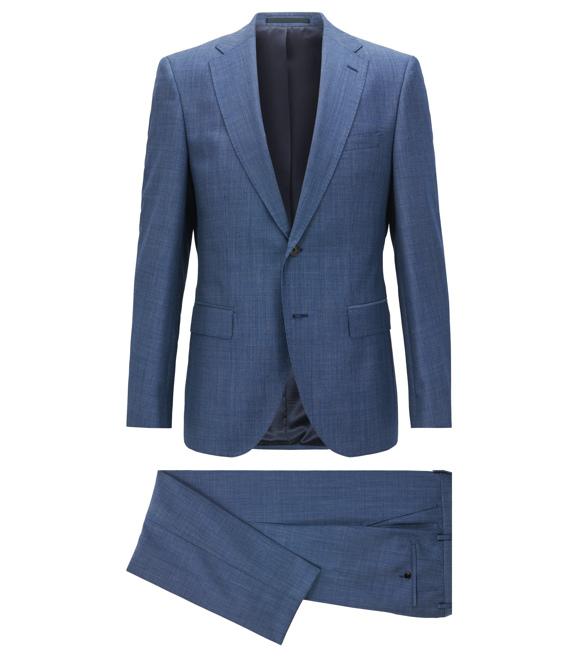Regular-fit suit in melange virgin wool, Open Blue