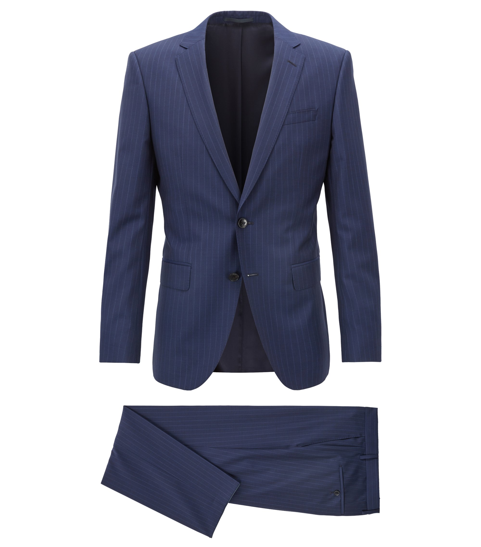 Slim-fit suit in virgin wool with woven stripe, Blue
