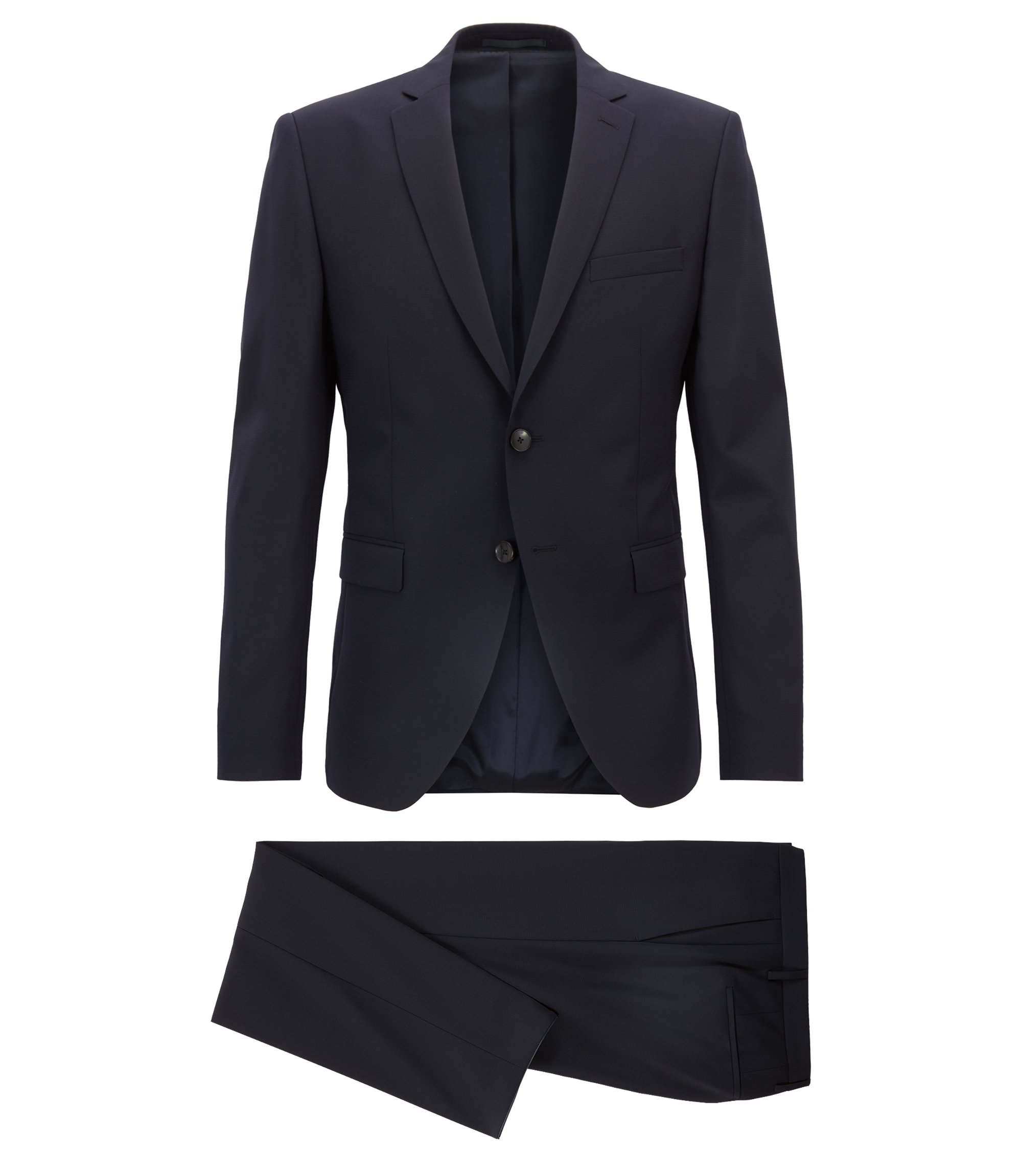 Extra-slim-fit virgin-wool suit with stretch, Dark Blue