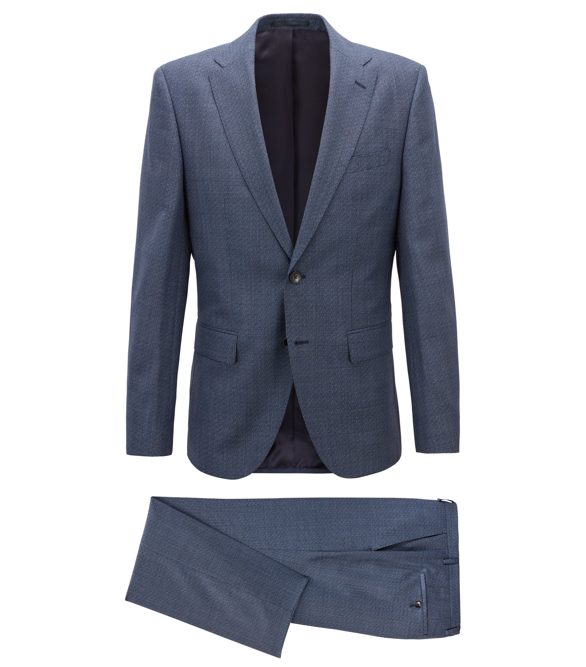 Regular-fit suit in tricoloured virgin-wool twill, Blue