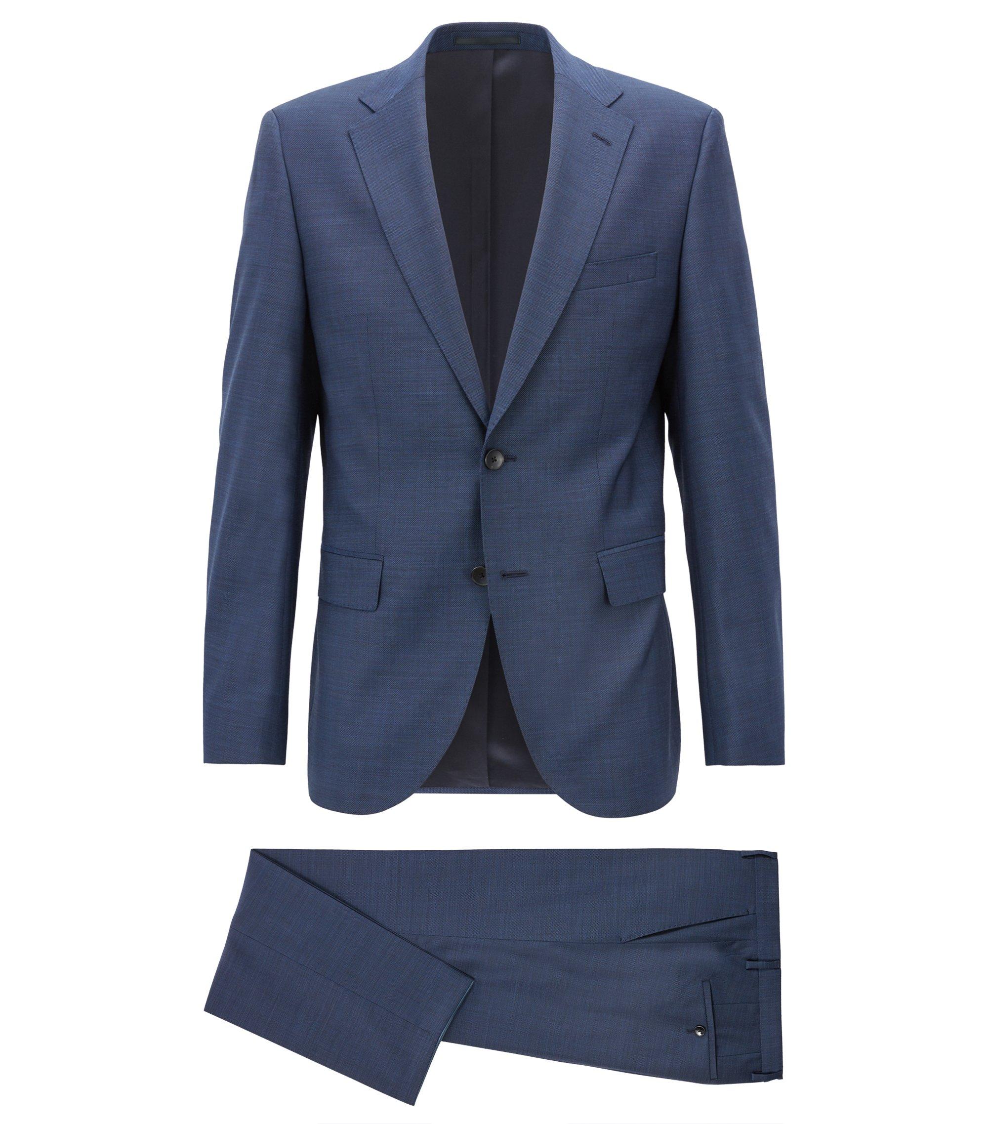 Costume Regular Fit en laine vierge à micro-motif, Bleu foncé
