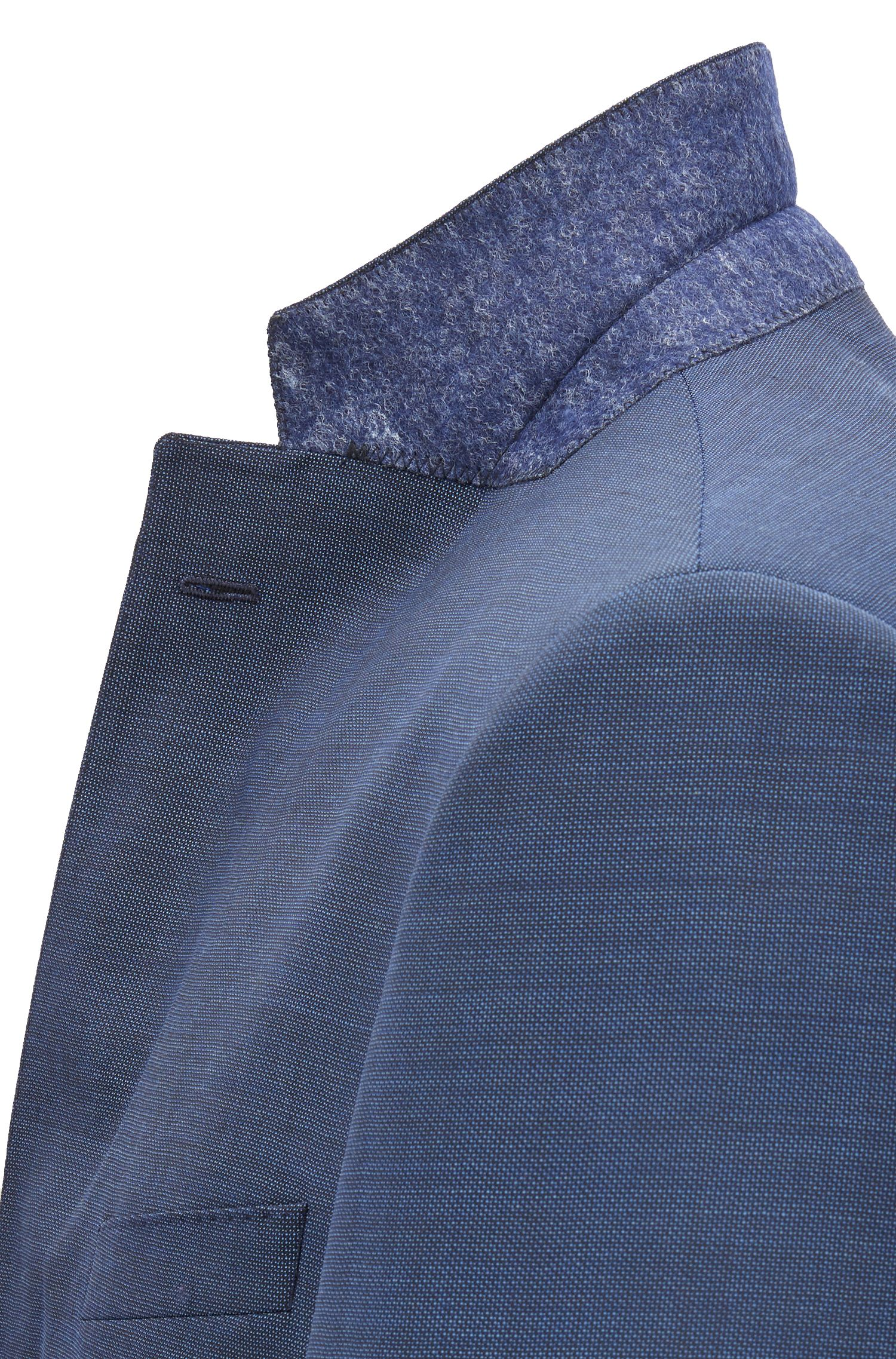 Regular-fit suit in micro-pattern virgin wool, Dark Blue