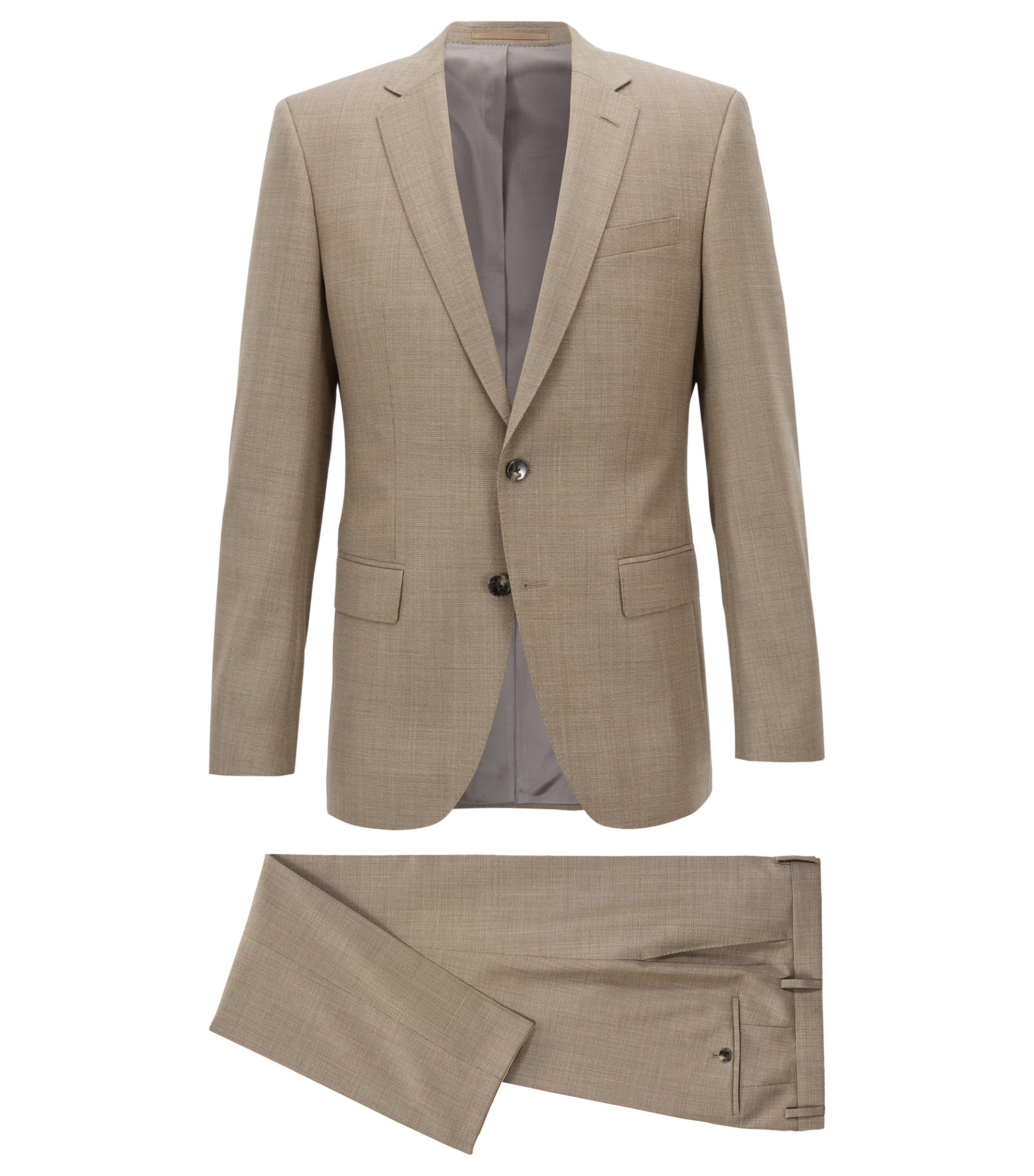 Slim-fit suit in micro-pattern virgin wool , Light Beige