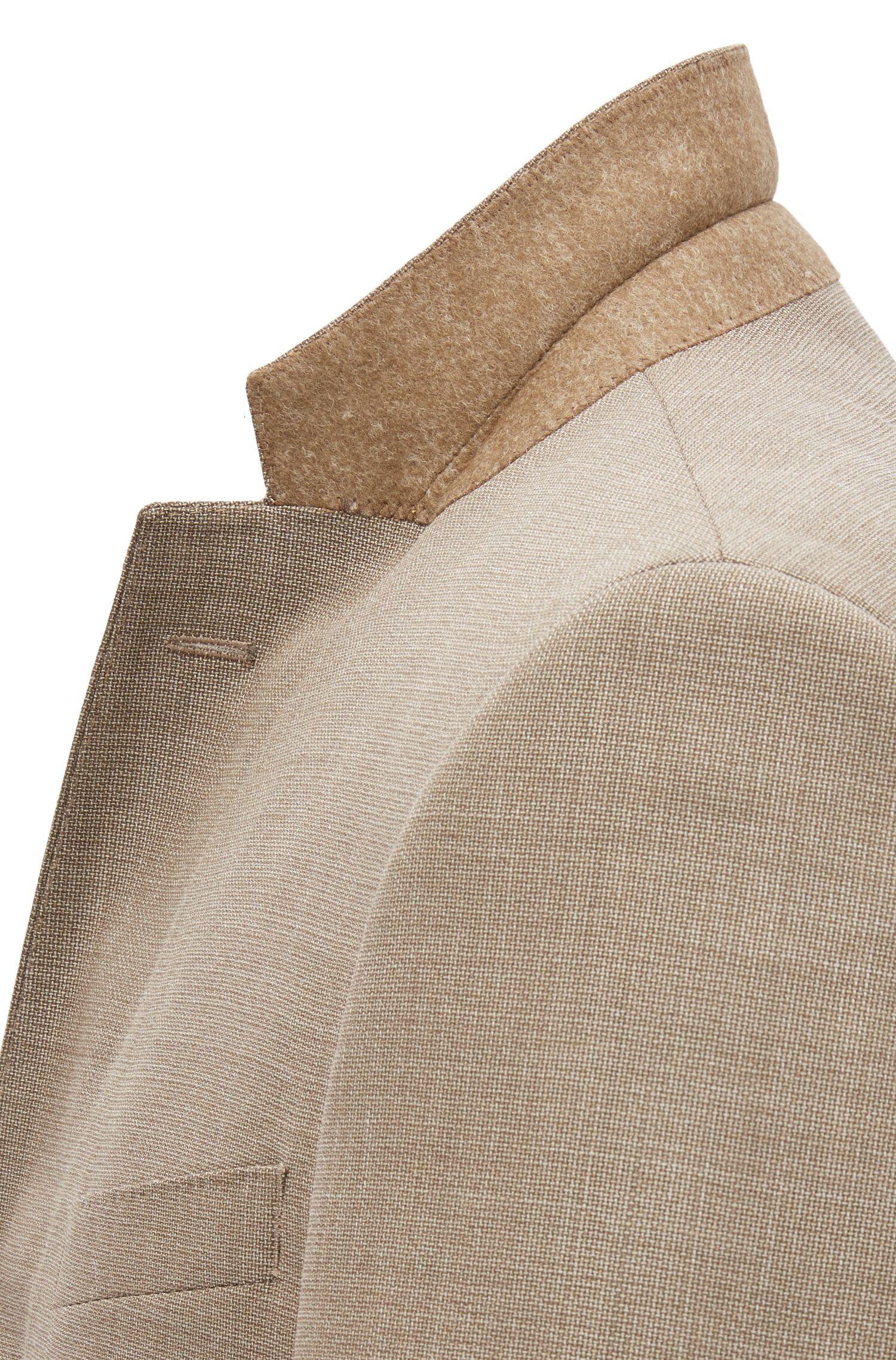 Traje slim fit en lana virgen con microestampado , Beige claro