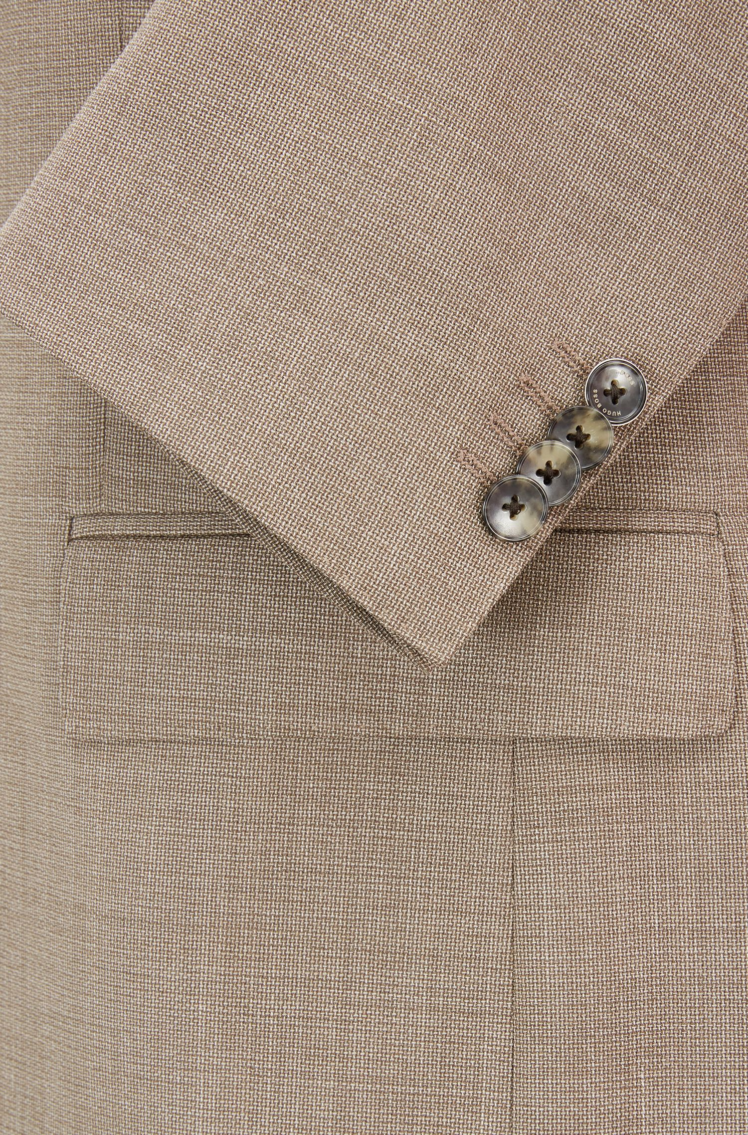 Abito slim fit in lana vergine con microdisegno