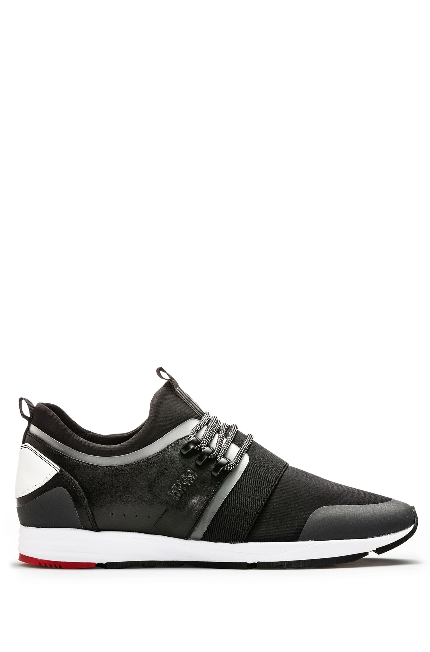 Lace-up trainers with hybrid uppers and Vibram sole, Black