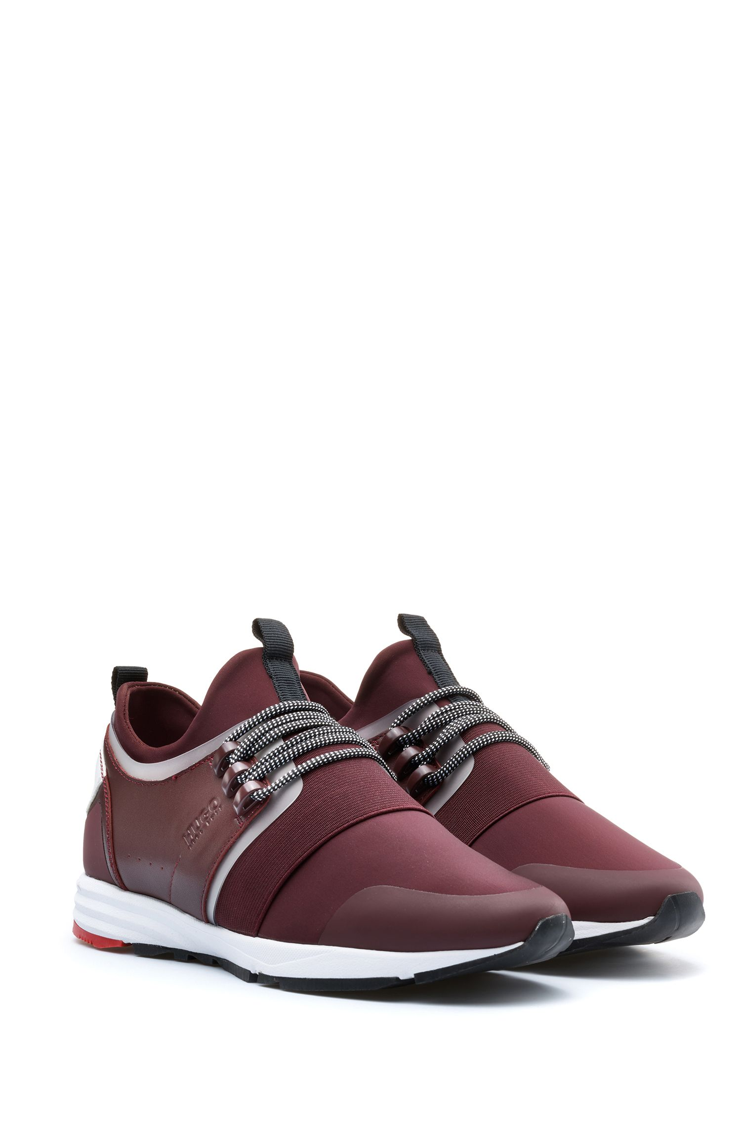 Lace-up trainers with hybrid uppers and Vibram sole, Dark Red