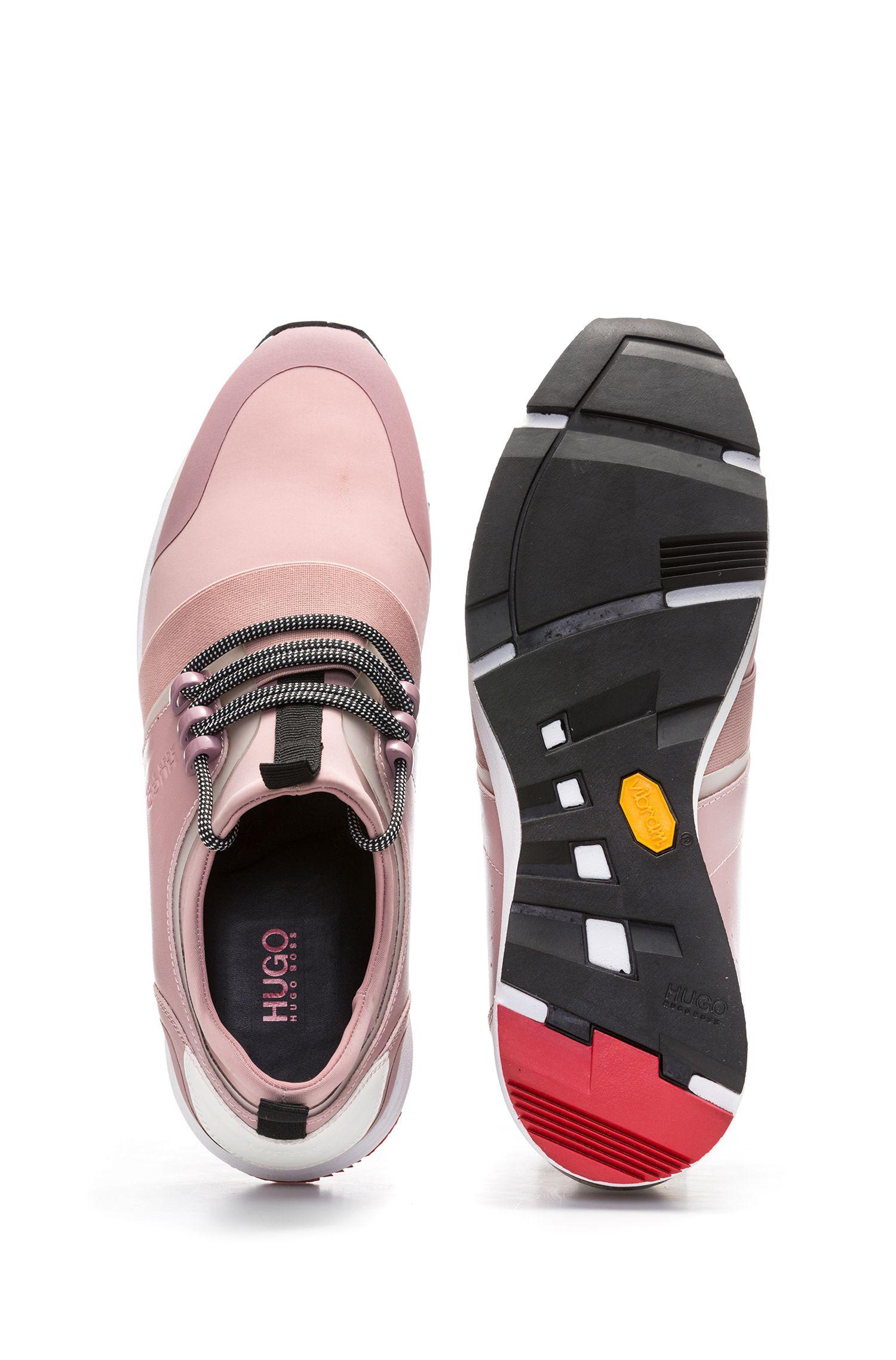 Sneakers mit Vibram-Sohle und Schnürung, Dunkelrosa