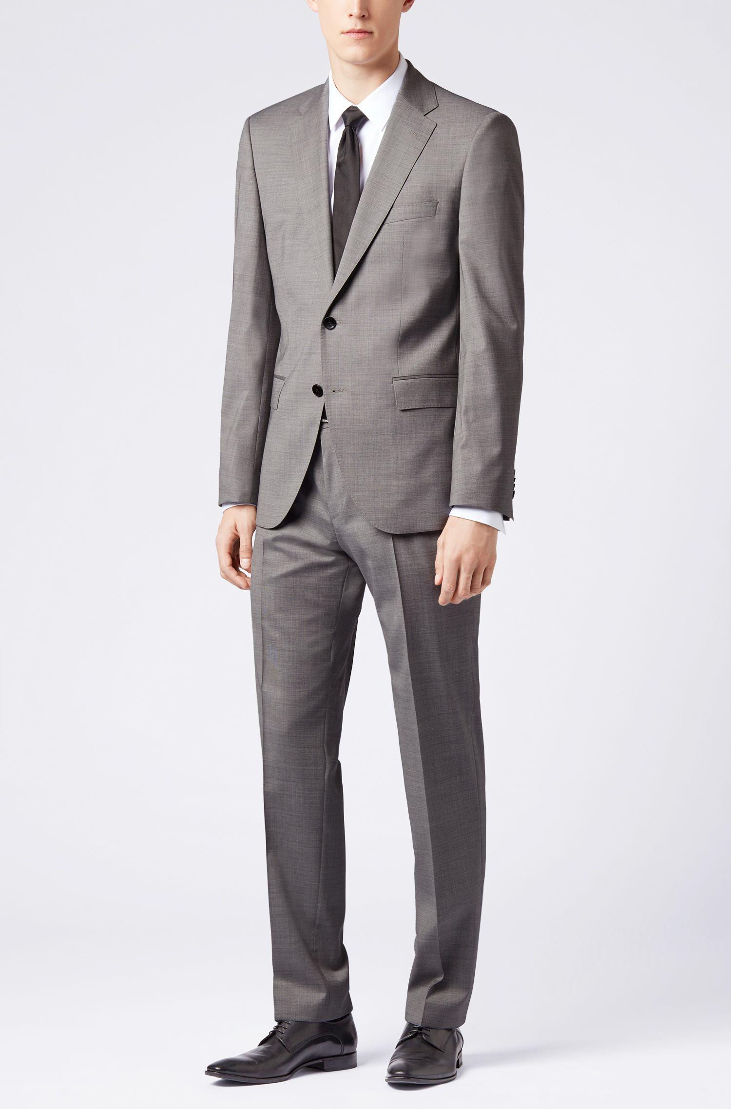 Regular-fit suit in virgin wool with silk