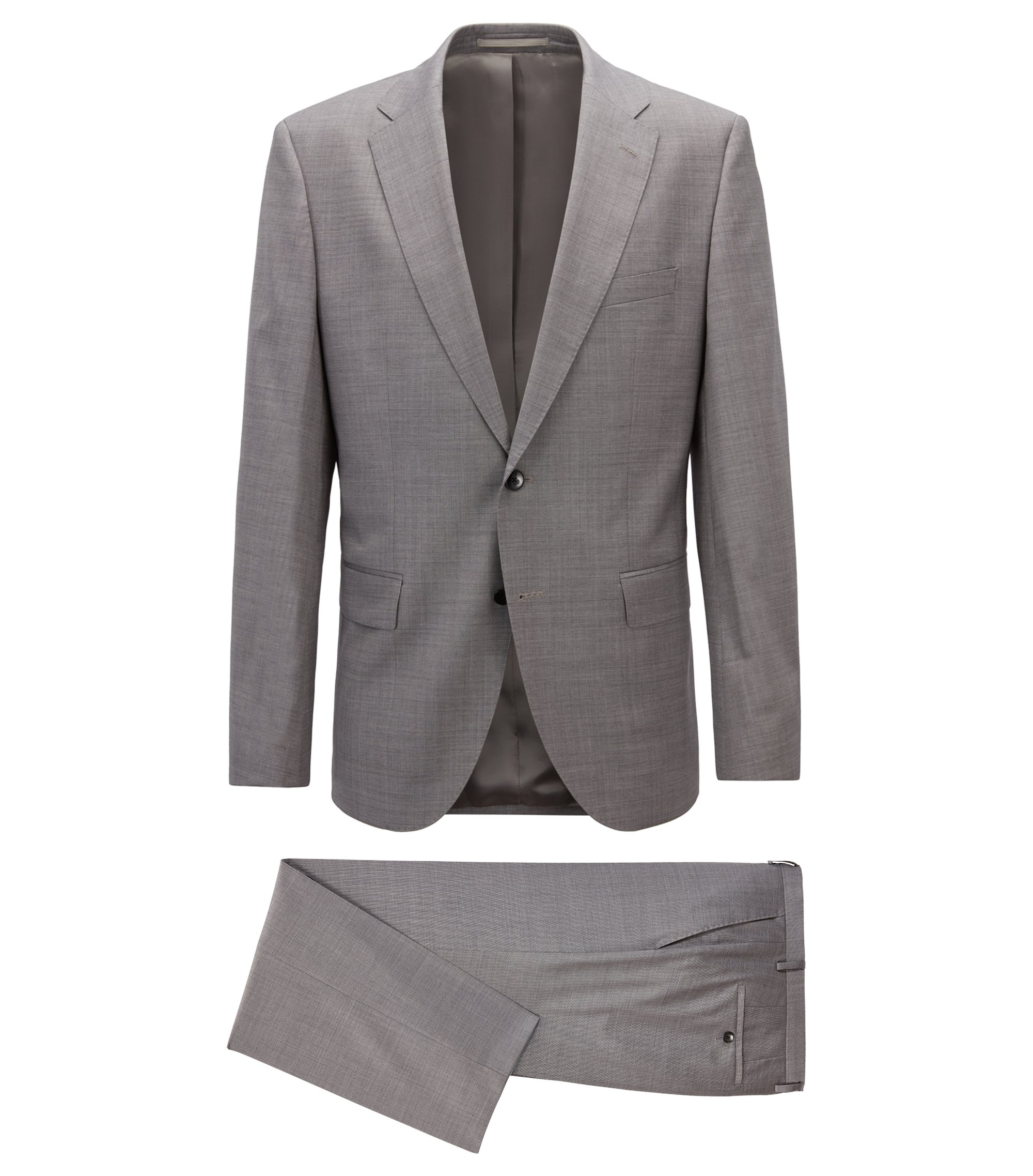Regular-fit suit in virgin wool with silk, Open Grey