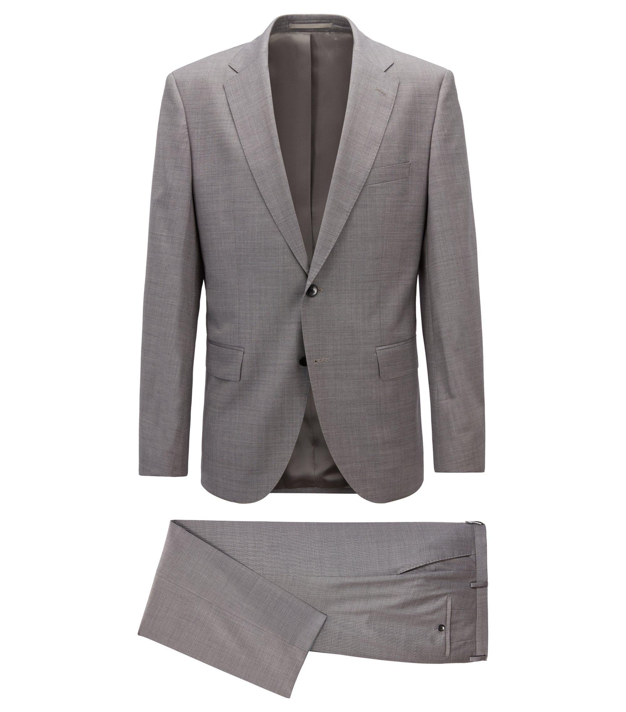 Regular-Fit Anzug aus Schurwoll-Mix mit Seide, Hellgrau