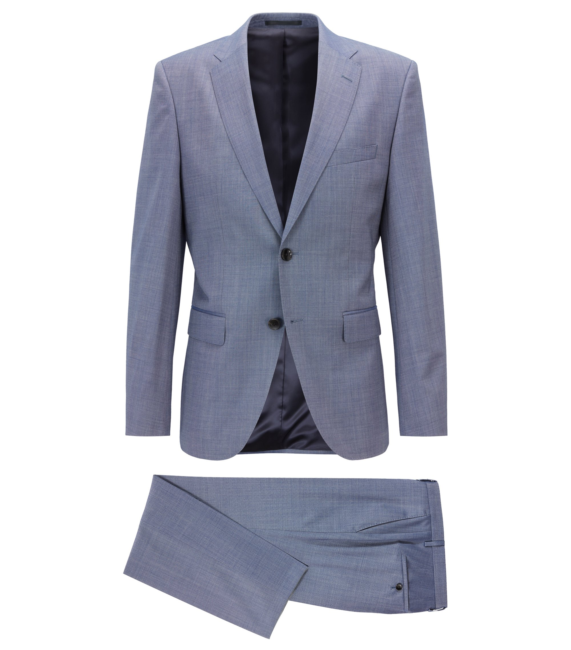 Regular-fit suit in virgin wool with silk, Open Blue