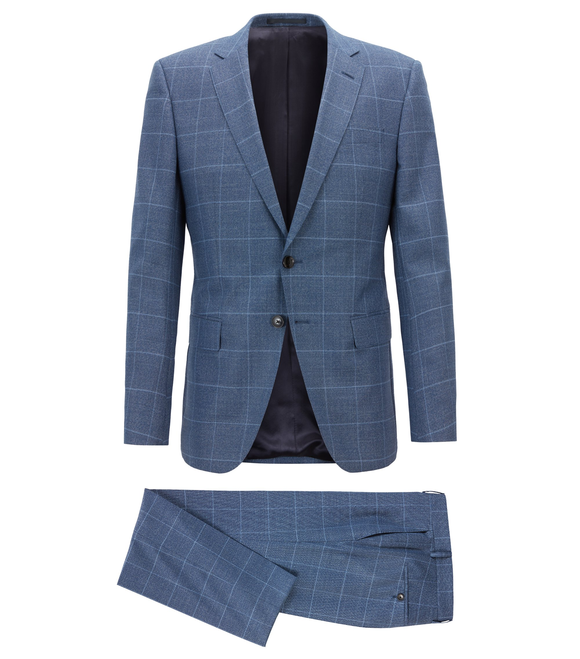Slim-fit suit in plain-check virgin wool serge, Open Blue