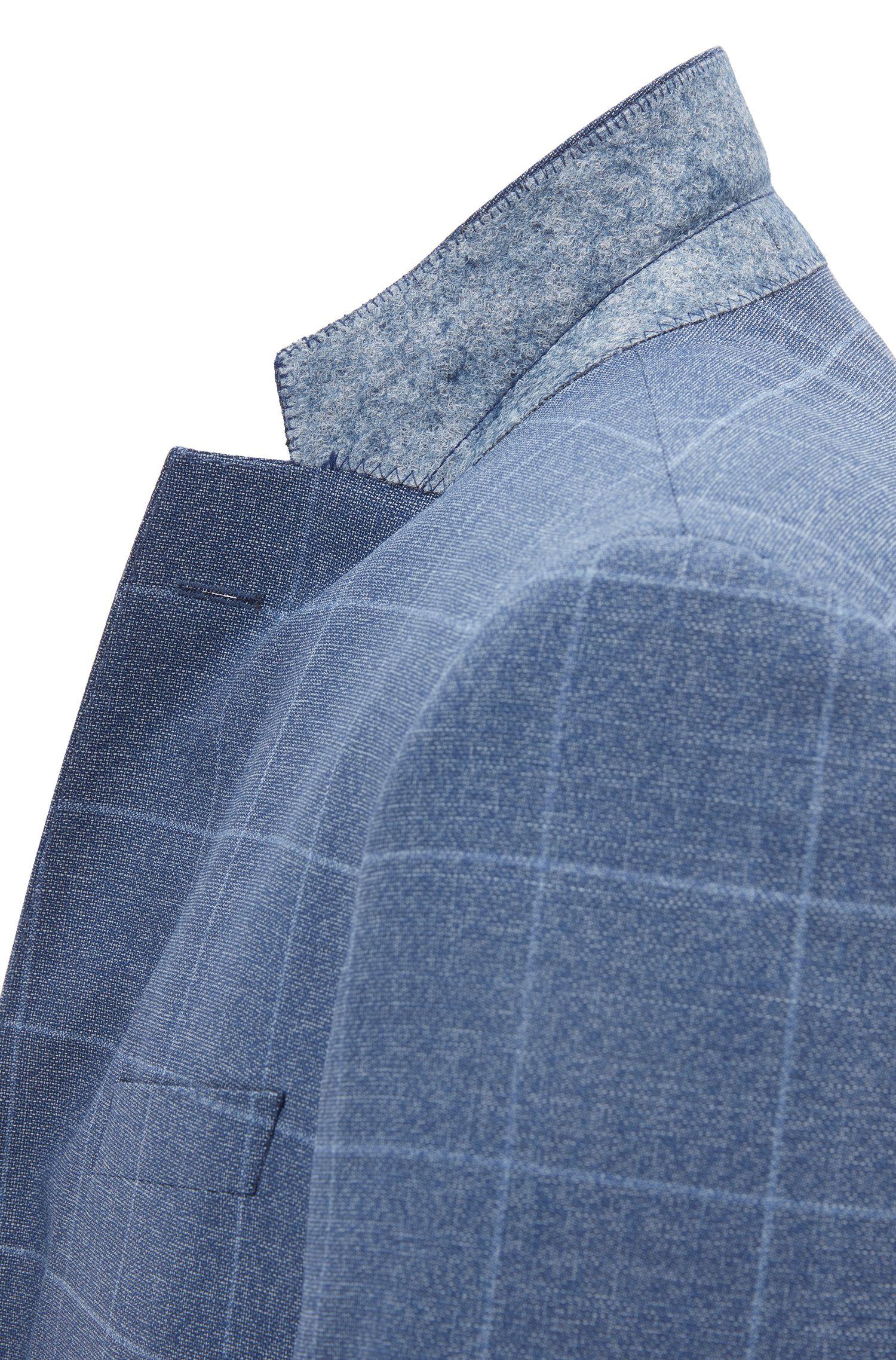 Costume Slim Fit en sergé de laine vierge à carreaux unis