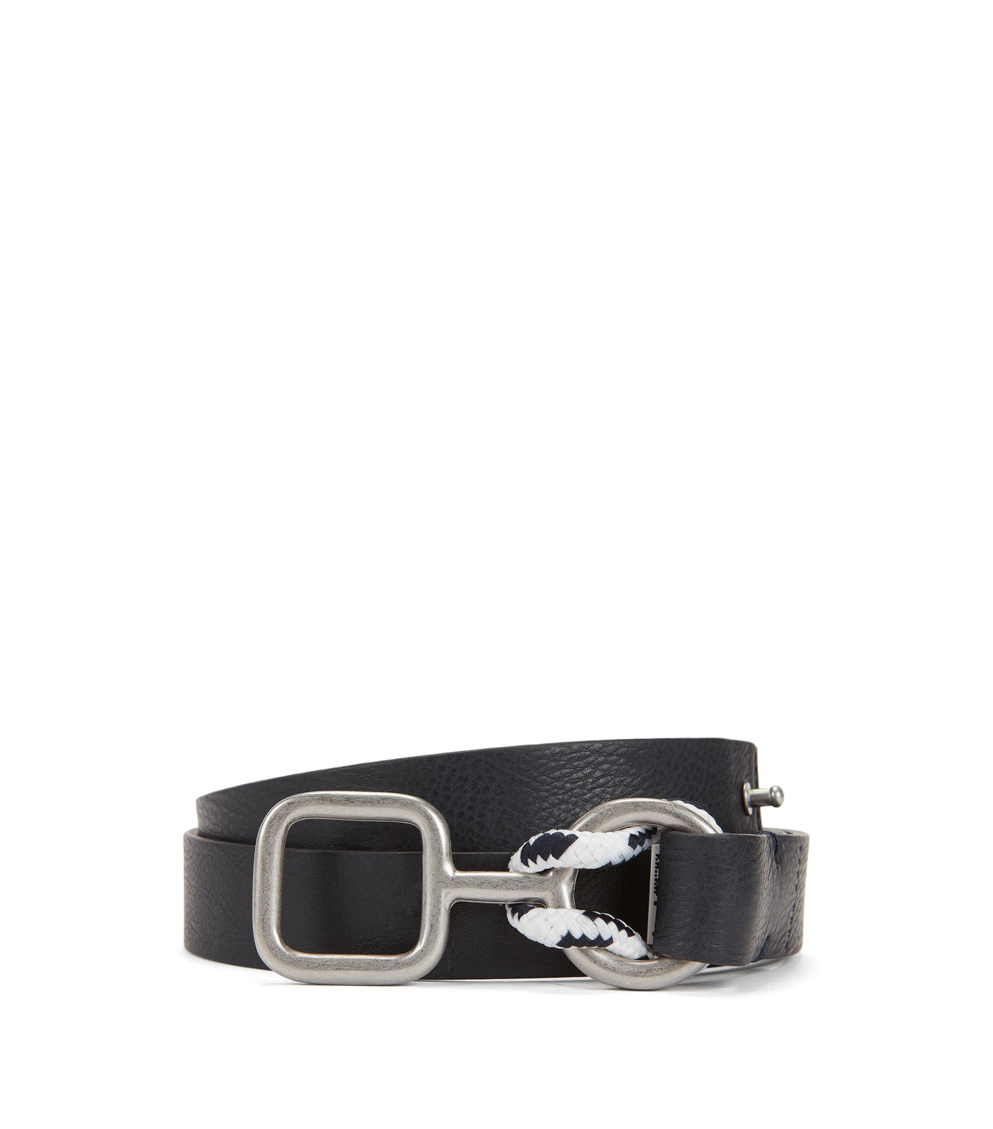 Reversible leather belt with nautical-inspired buckle, Dark Blue
