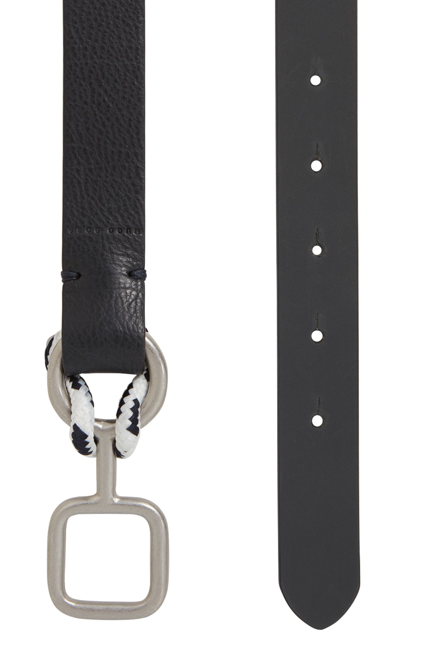Reversible leather belt with nautical-inspired buckle