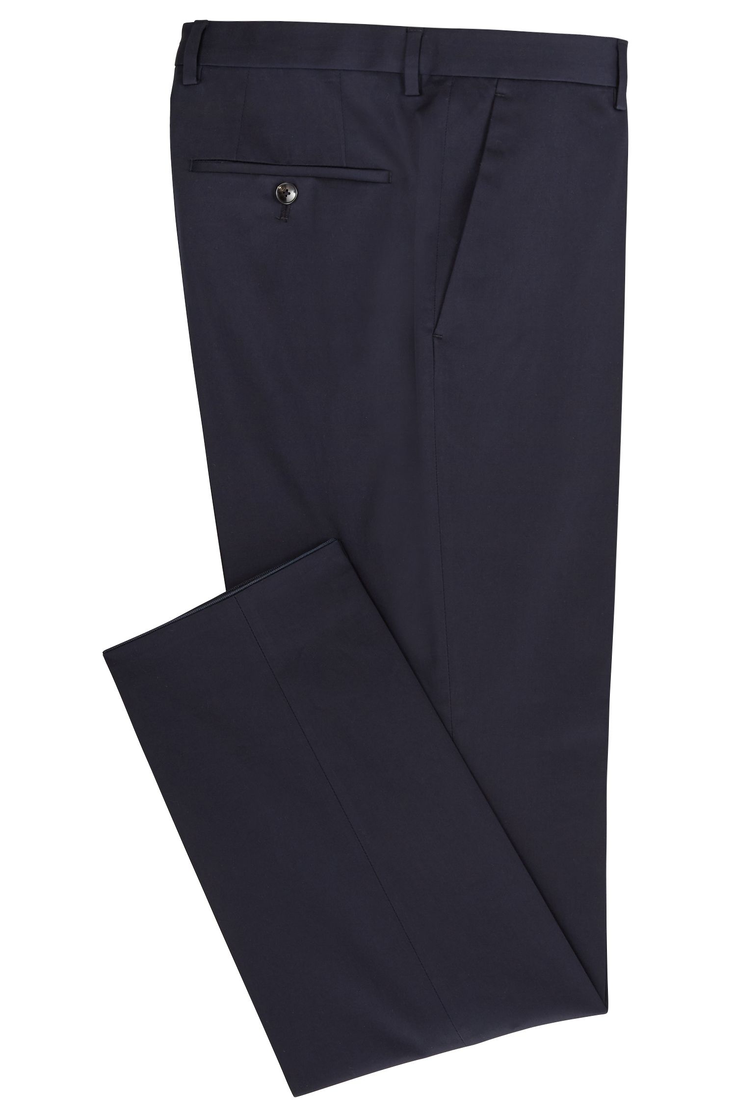 Slim-fit chinos in satin-effect stretch cotton , Blue
