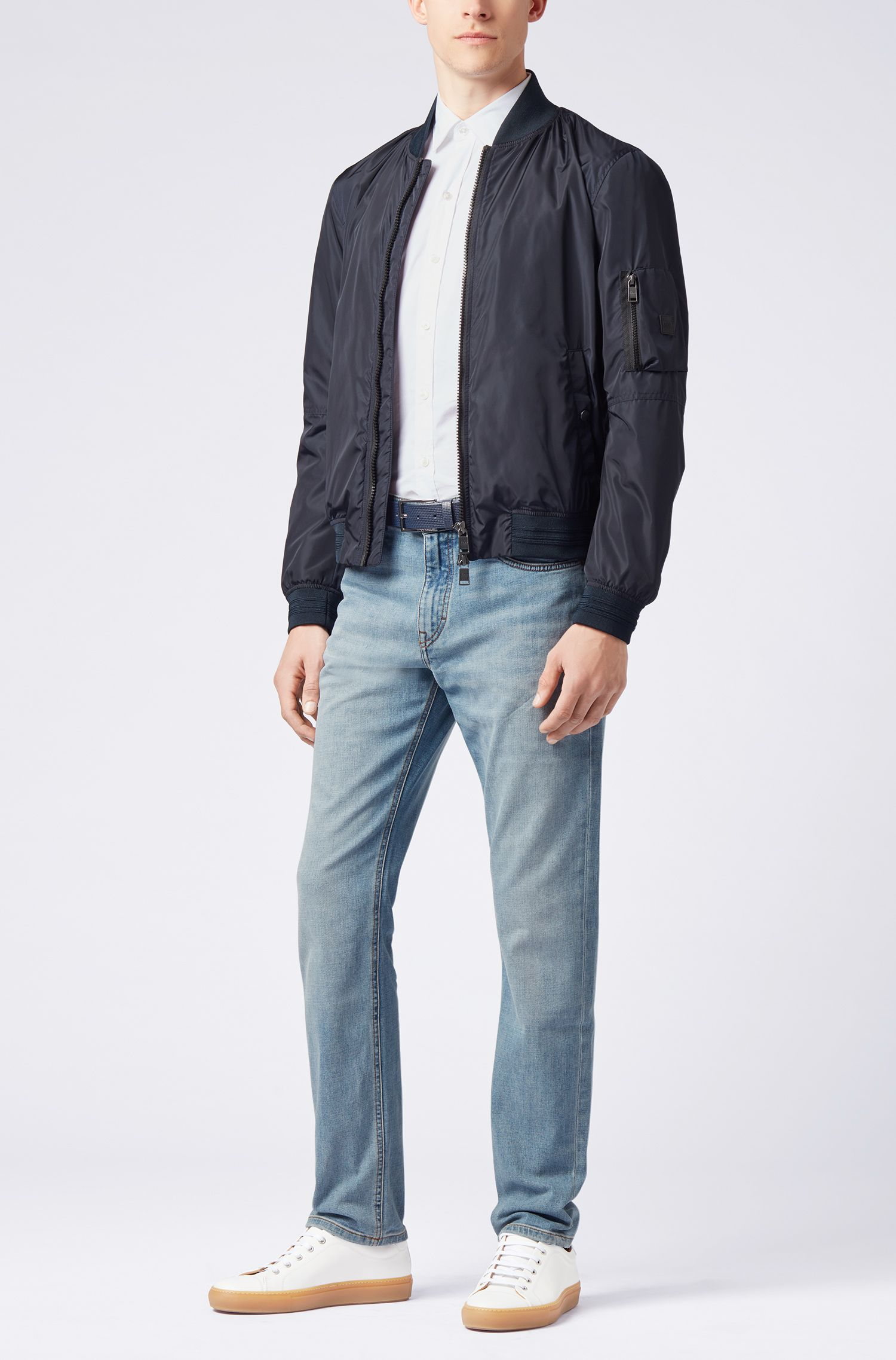 Relaxed-fit jeans in cross-weave stretchdenim