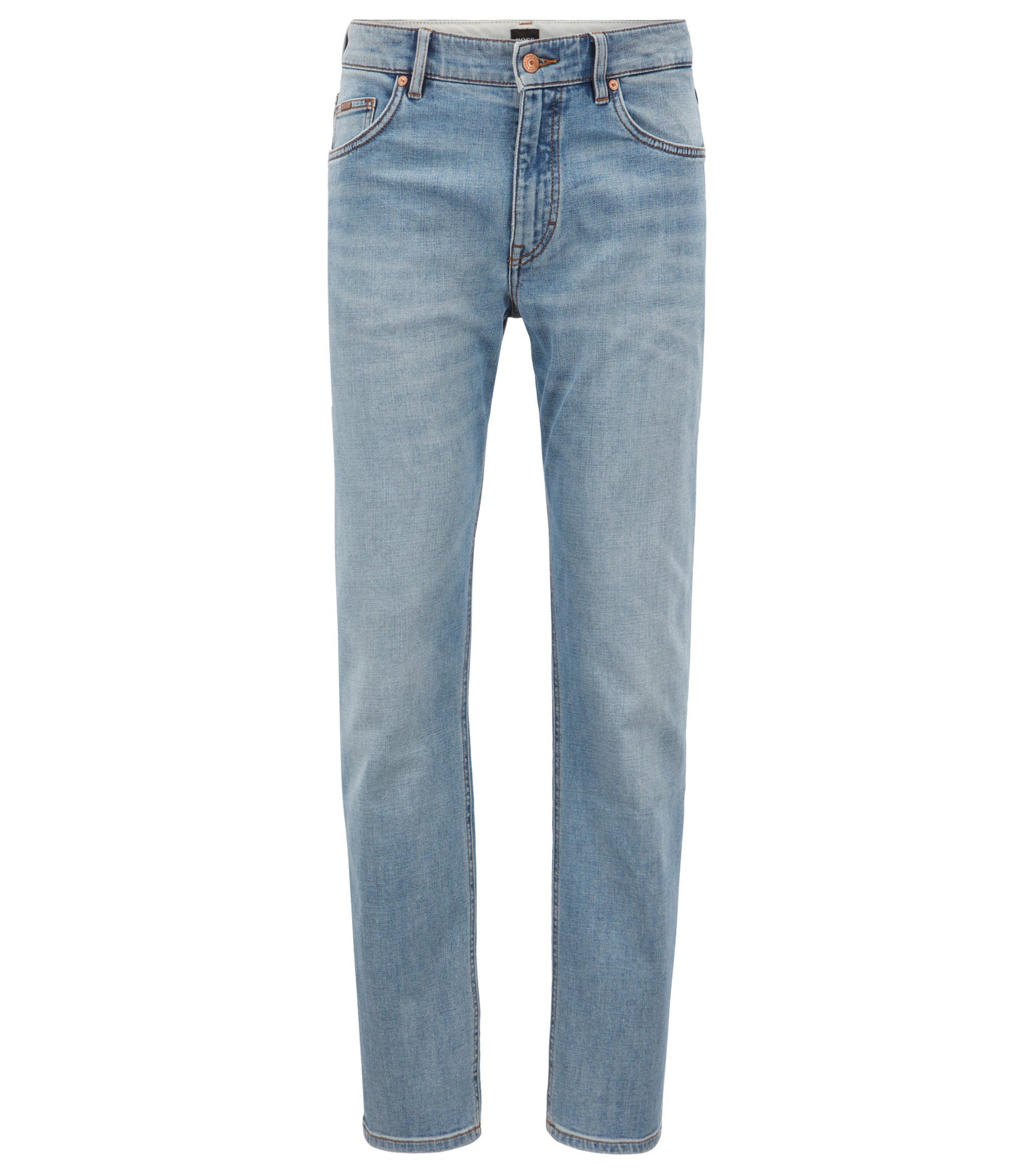 Jeans relaxed fit in denim elasticizzato a trama incrociata, Turchese