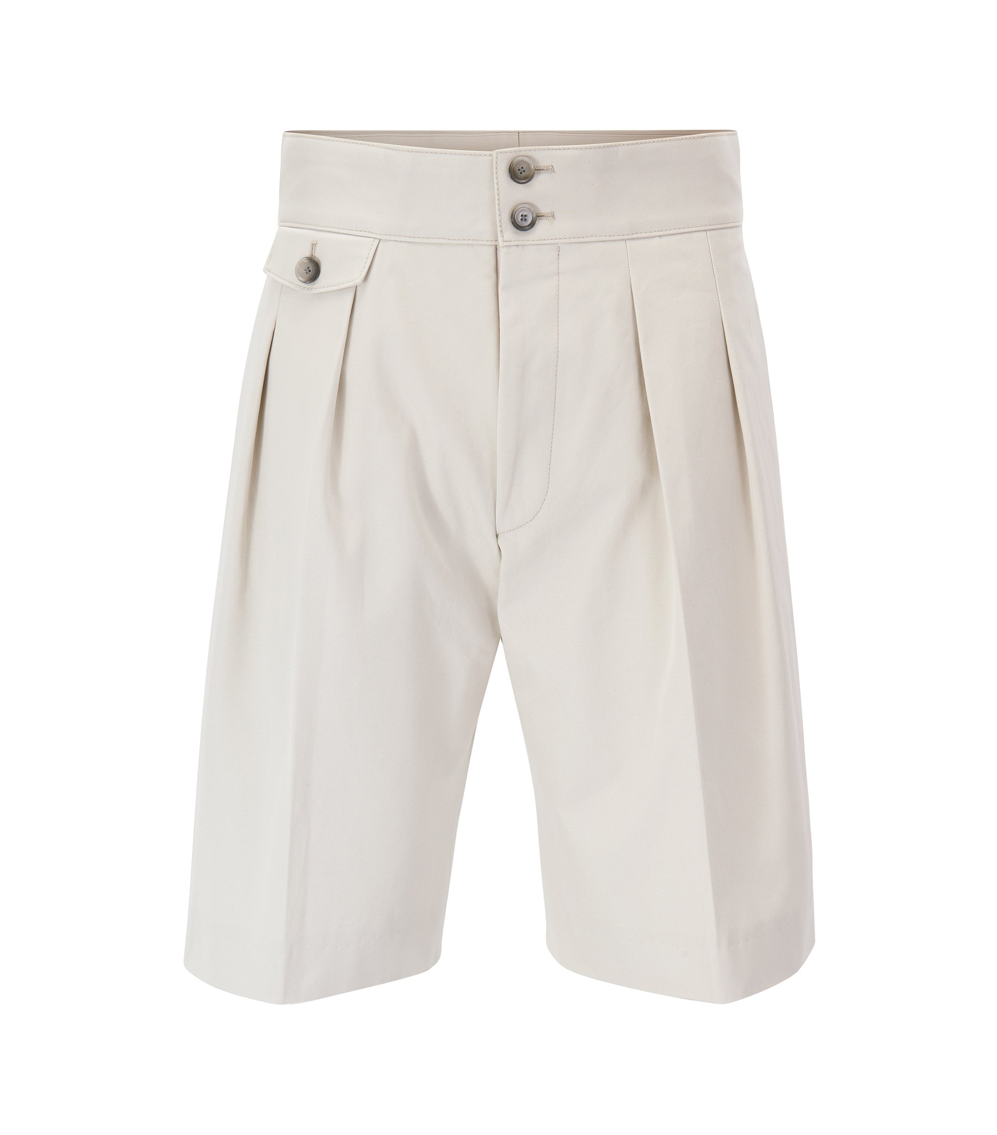 Runway Edition high-waisted pleated shorts in pure cotton, Natural