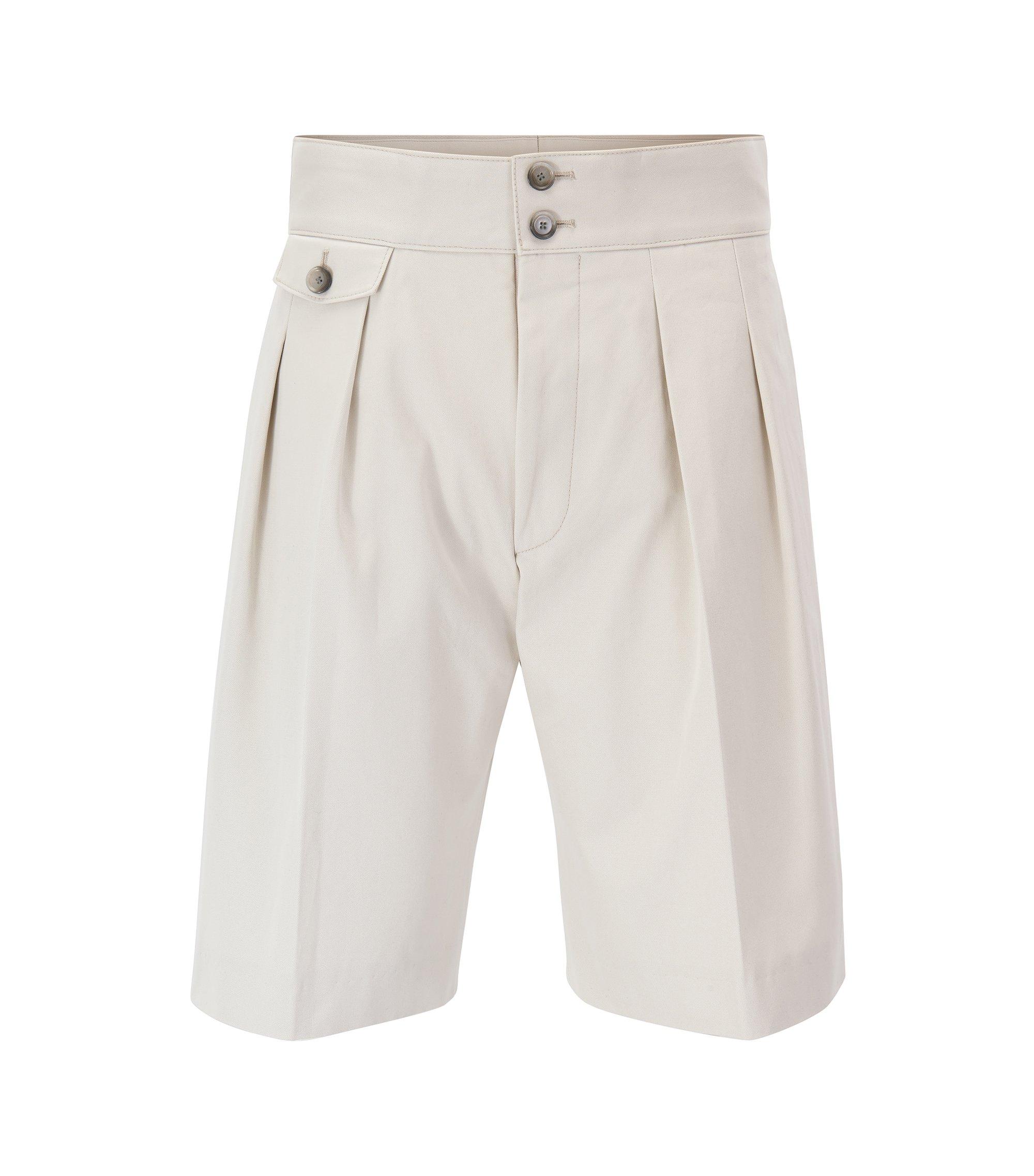 Shorts plisados en puro algodón de talle alto de la edición para pasarela, Natural
