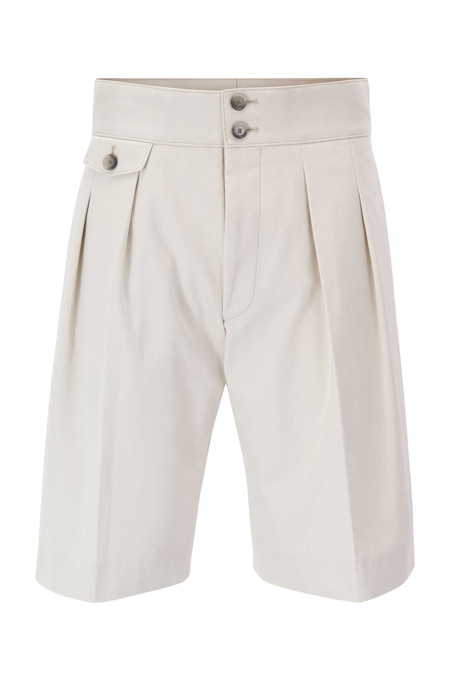 Runway Edition high-waisted pleated shorts in pure cotton