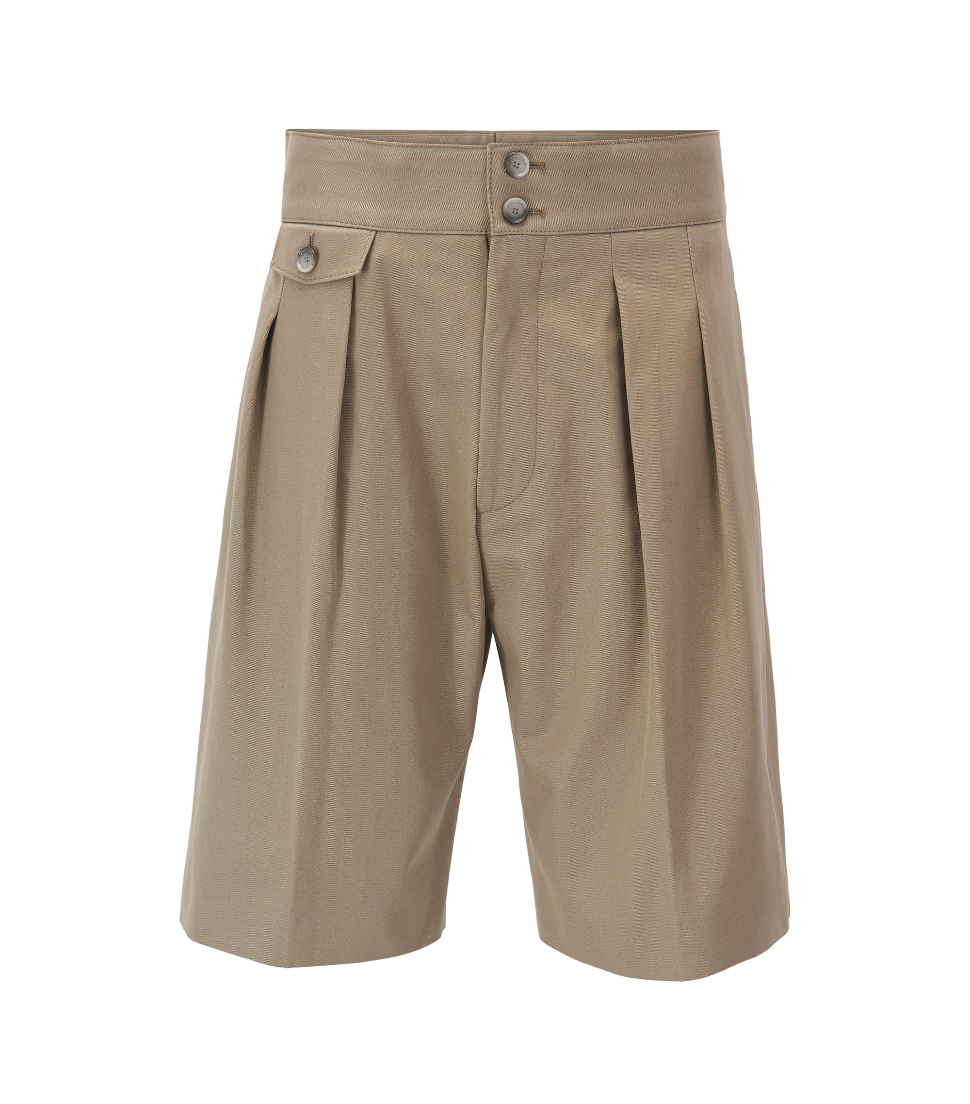 Runway Edition high-waisted pleated shorts in pure cotton, Beige