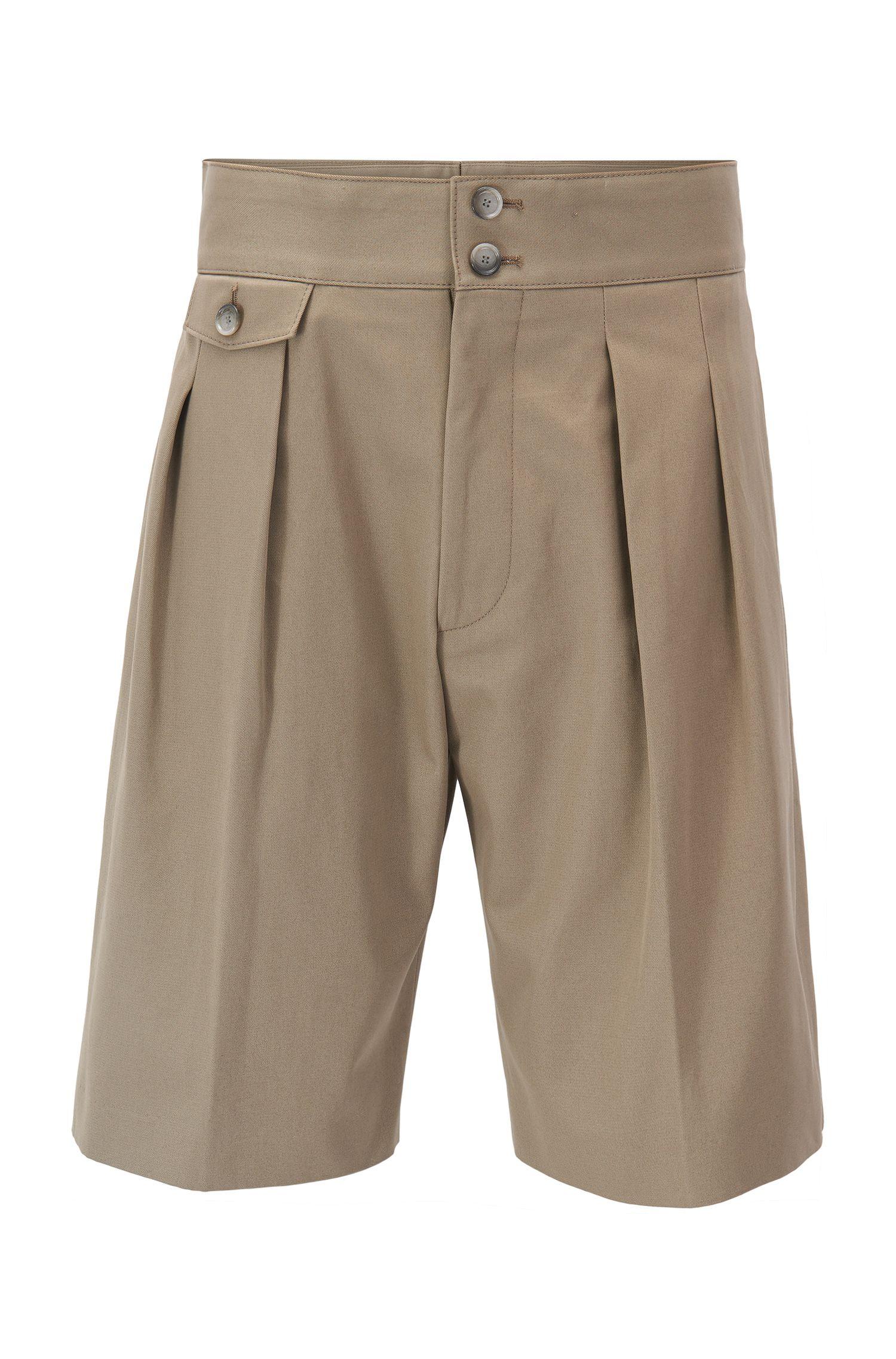 Short à plis Runway Edition en pur coton, à taille haute