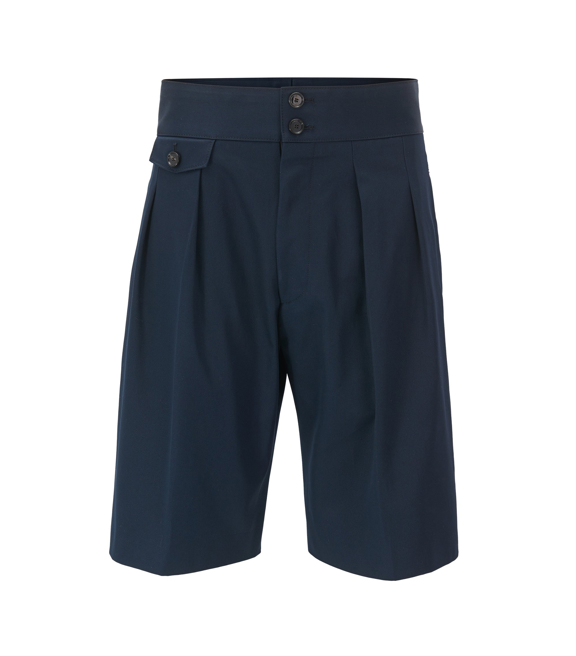 Runway Edition high-waisted pleated shorts in pure cotton, Dark Blue