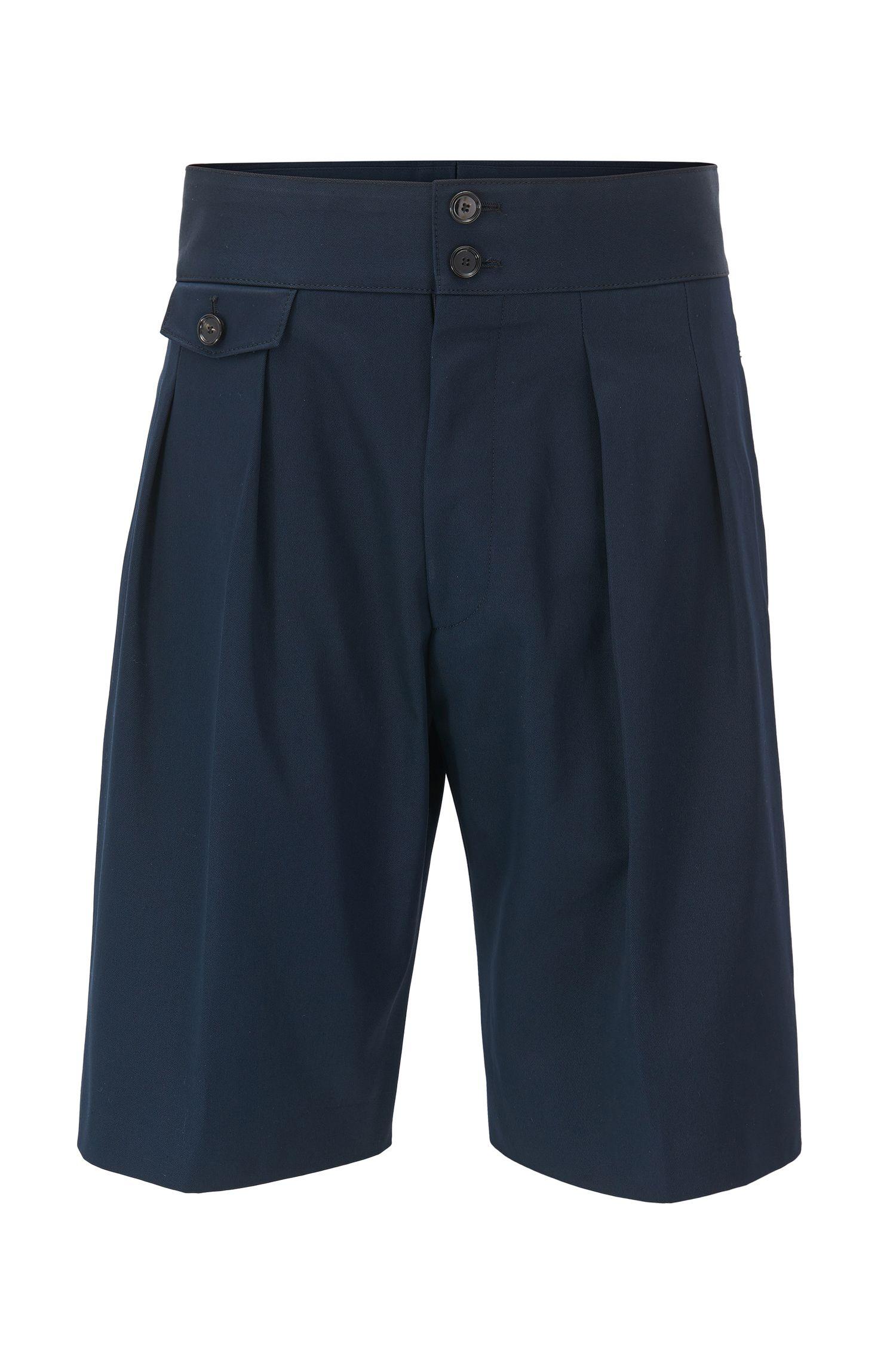 Bundfalten-Shorts aus Baumwolle mit hohem Bund aus der Runway Edition