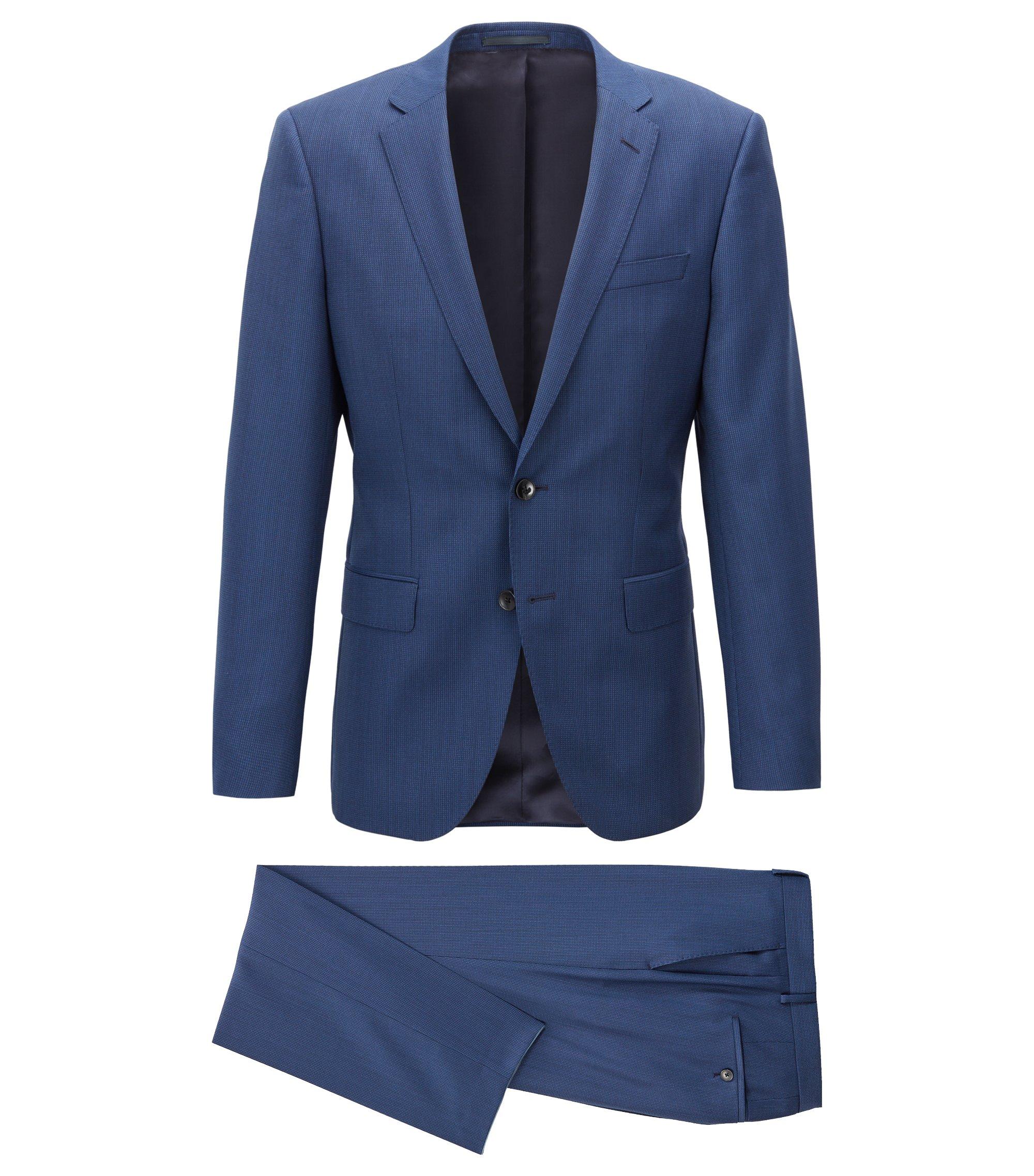 Slim-fit kostuum van gemêleerde scheerwol, Blauw