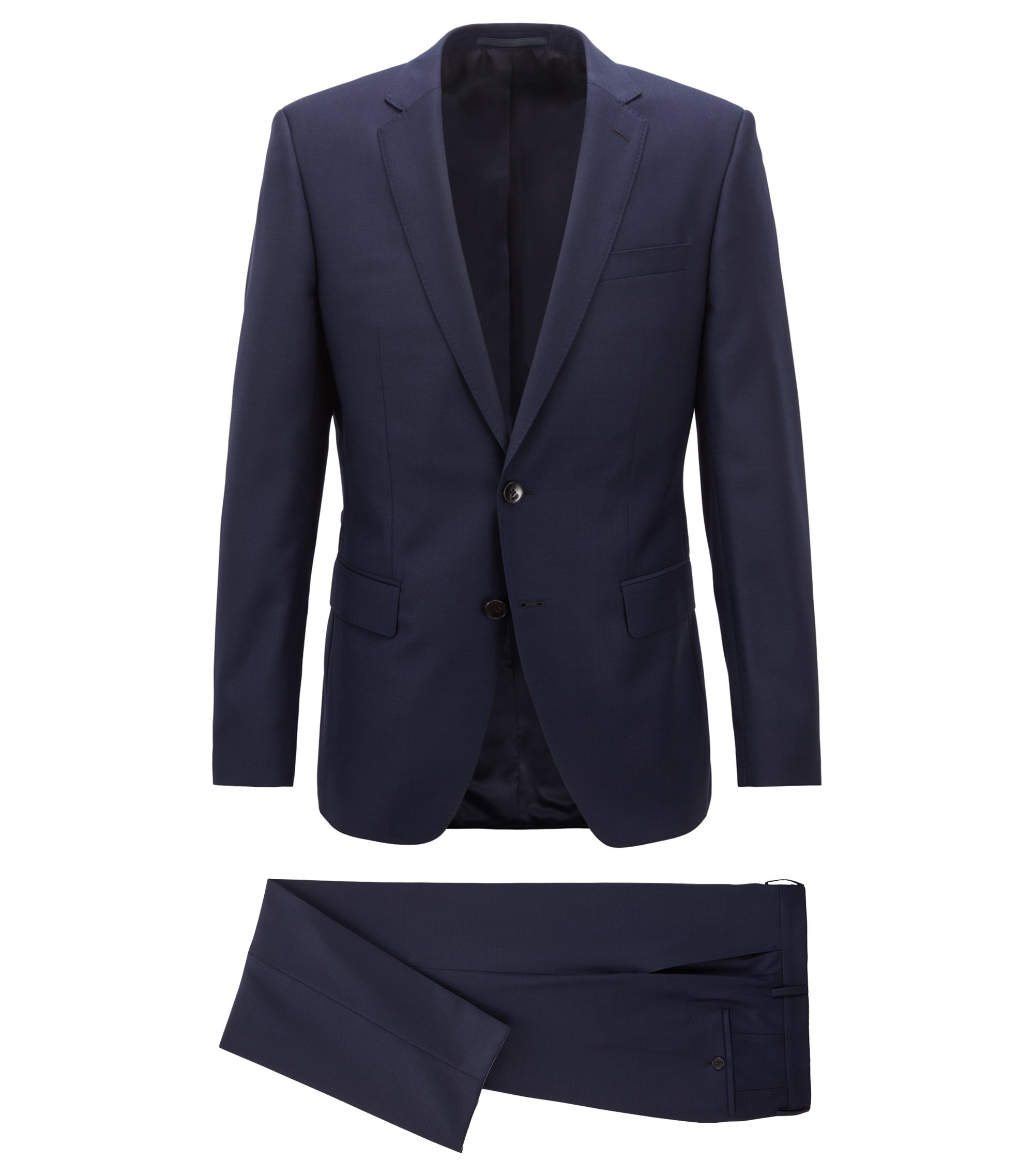 Slim-fit suit in virgin wool with AMF stitching, Dark Blue