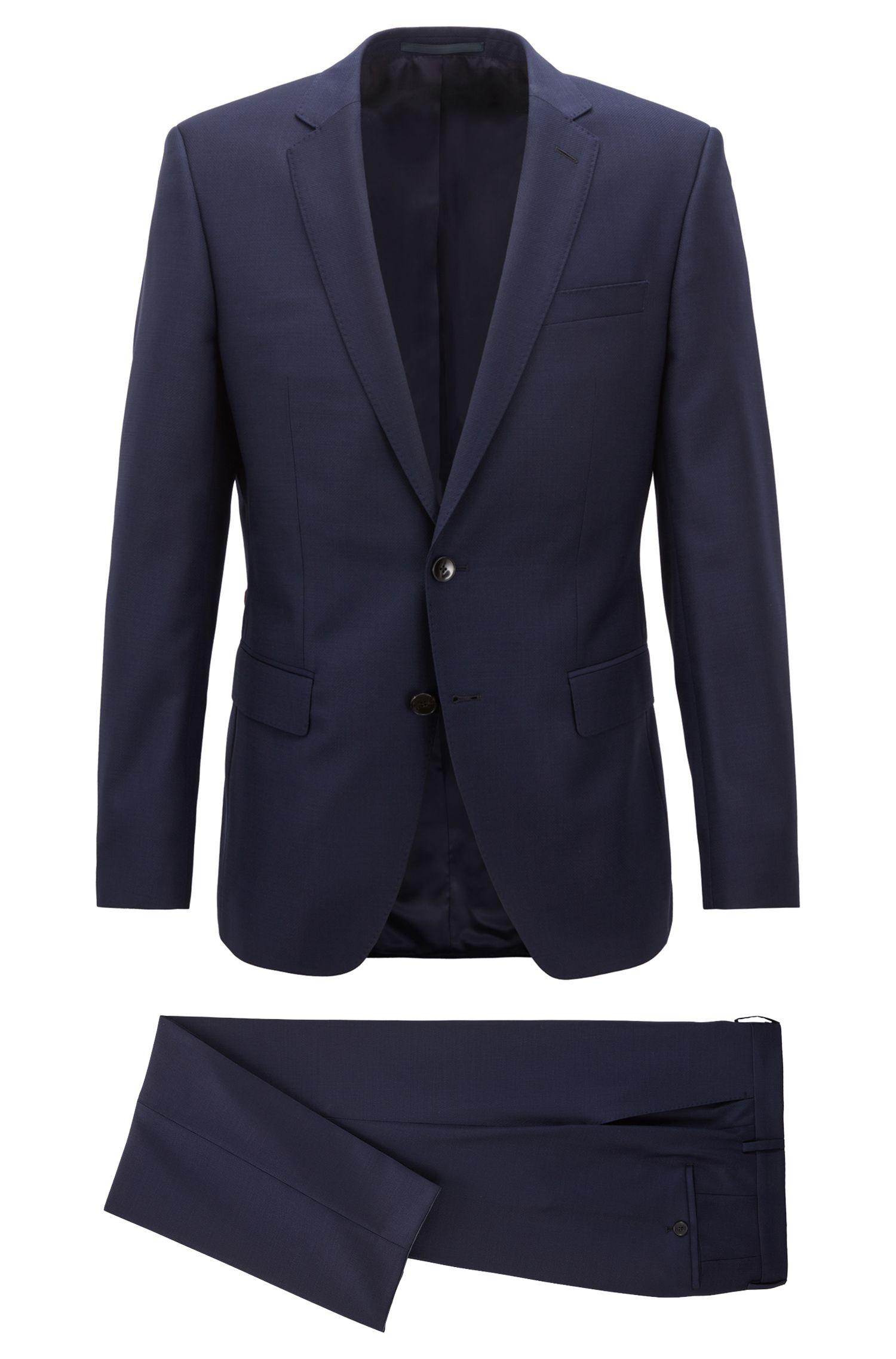 Costume Slim Fit en laine vierge à surpiqûres AMF, Bleu foncé