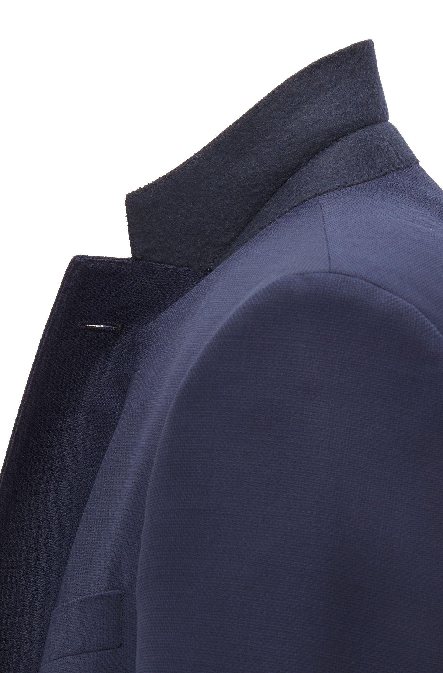 Slim-fit kostuum van scheerwol met AMF-sierstiksels, Donkerblauw