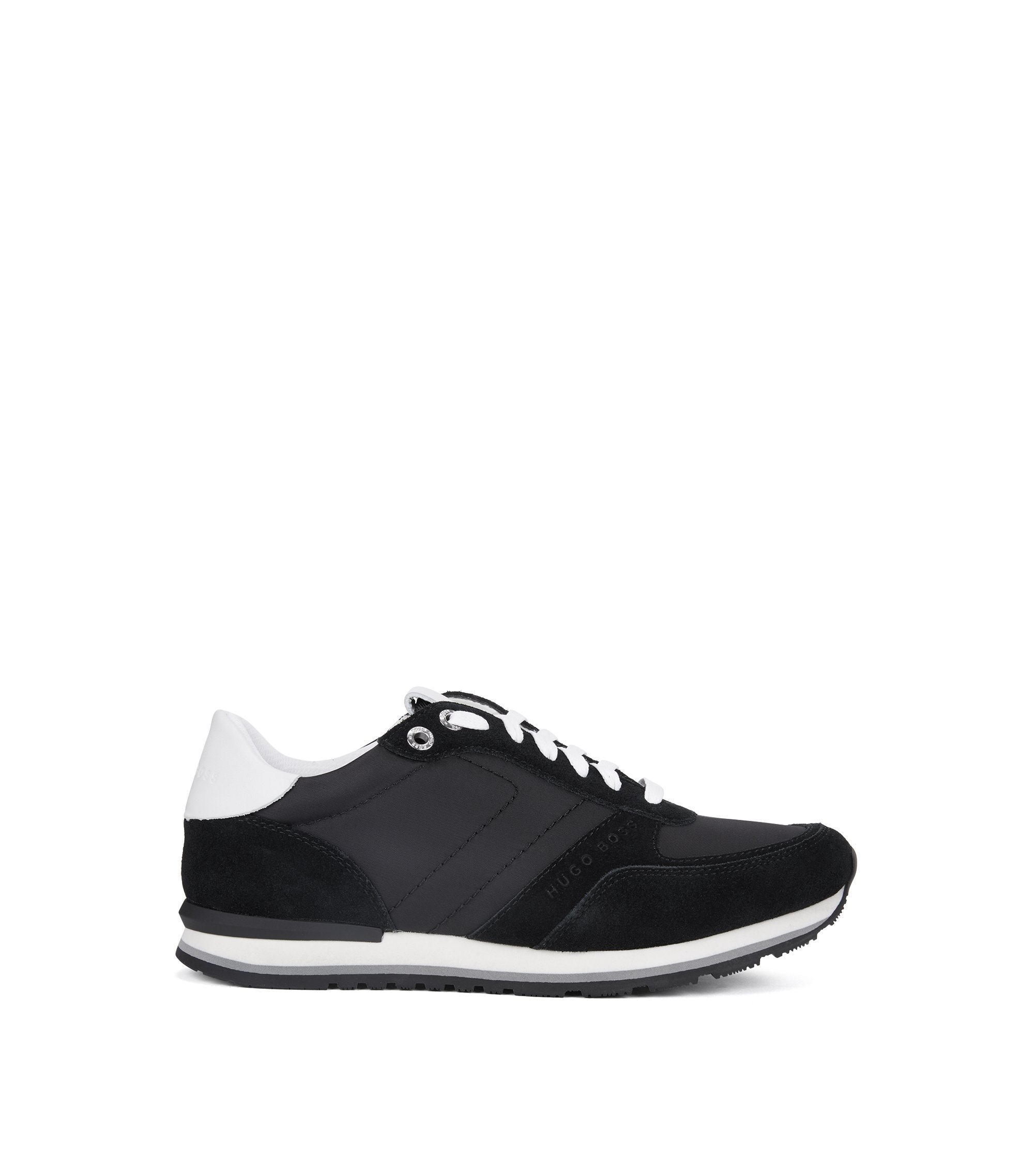 Sneakers in stile runner in pelle semi-anilina, Nero