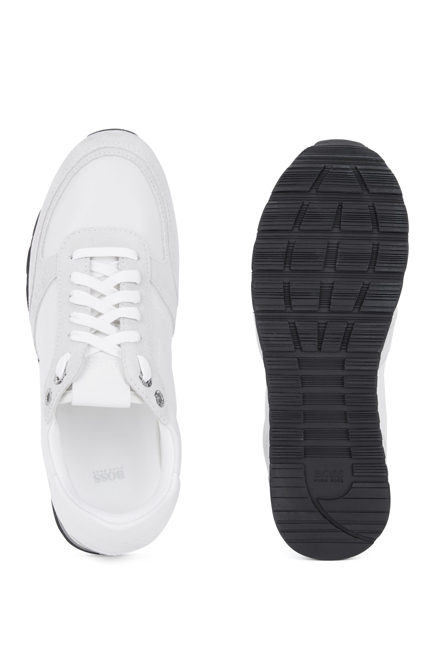 Running-inspired trainers in semi-aniline leather, White