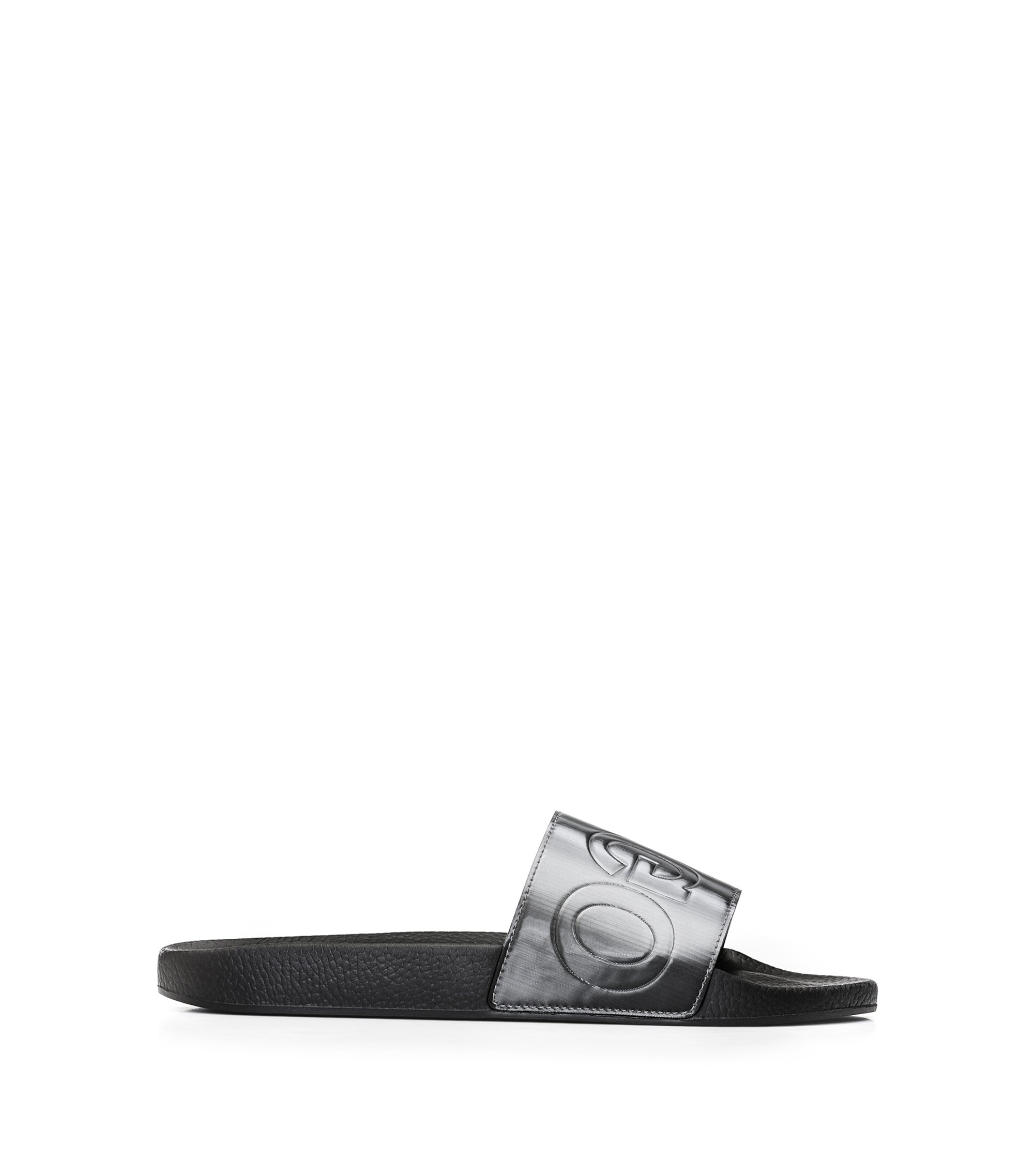 Italian-made slider sandals with reverse logo, Silver