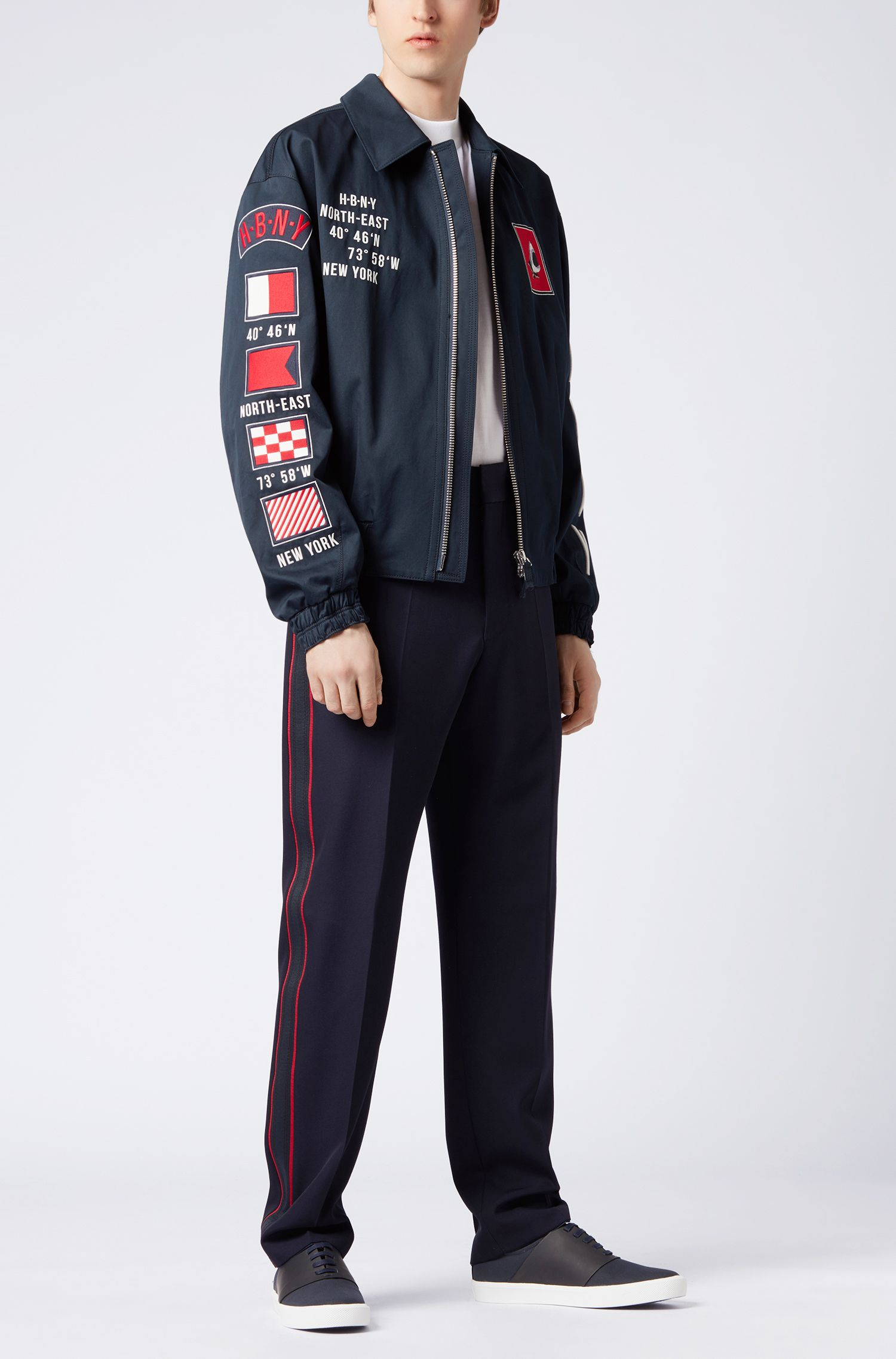 Zip-through cotton jacket with embroidered motifs