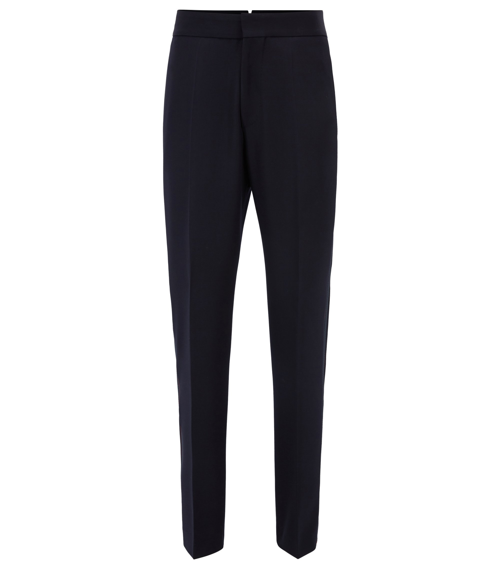 Runway Edition virgin wool trousers with taped side seam, Dark Blue