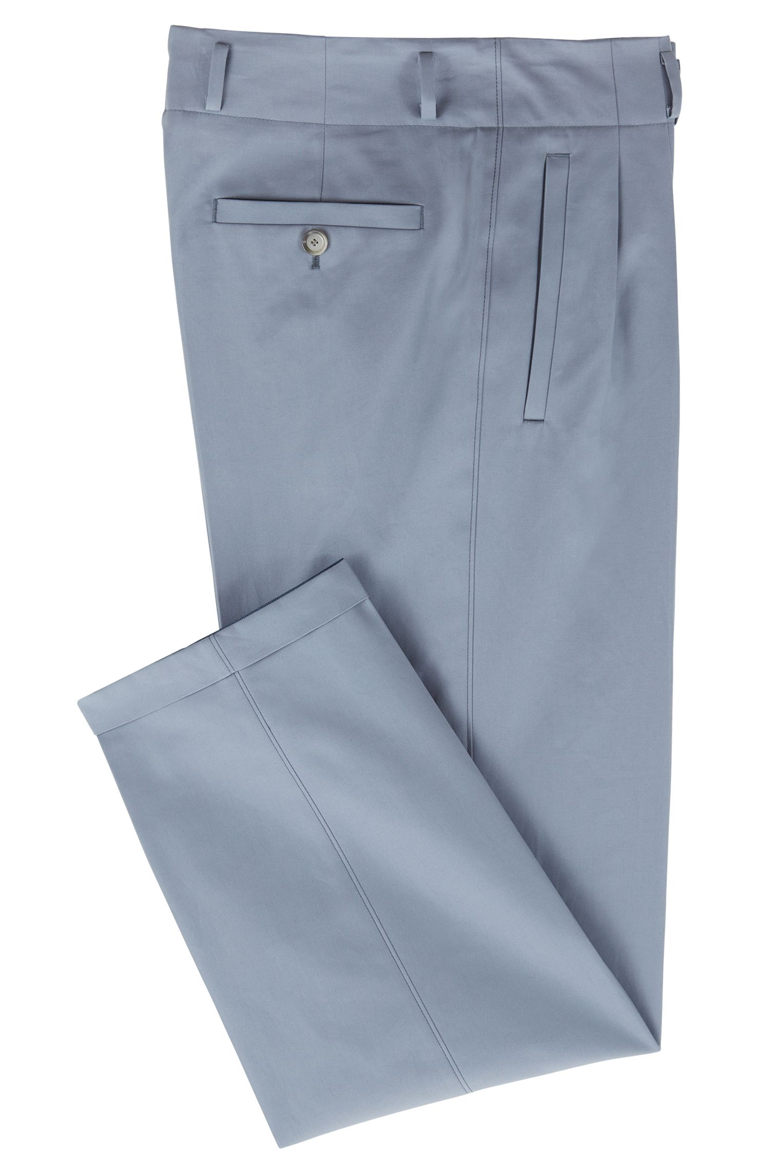 Pantalones relaxed fit de talle alto con pinzas en algodón italiano