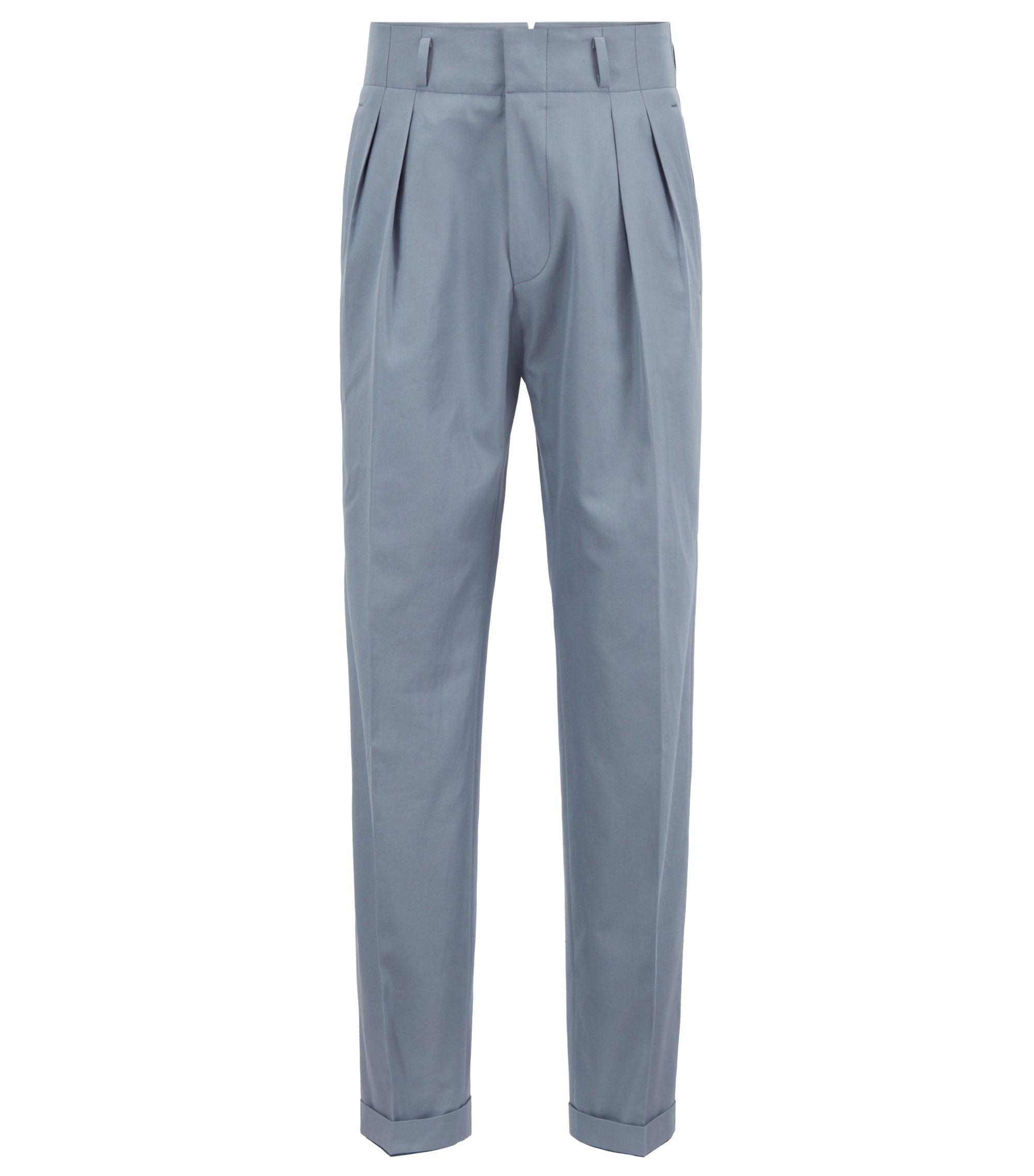 Pantaloni relaxed fit a vita alta con piega in cotone realizzato in Italia, Grigio