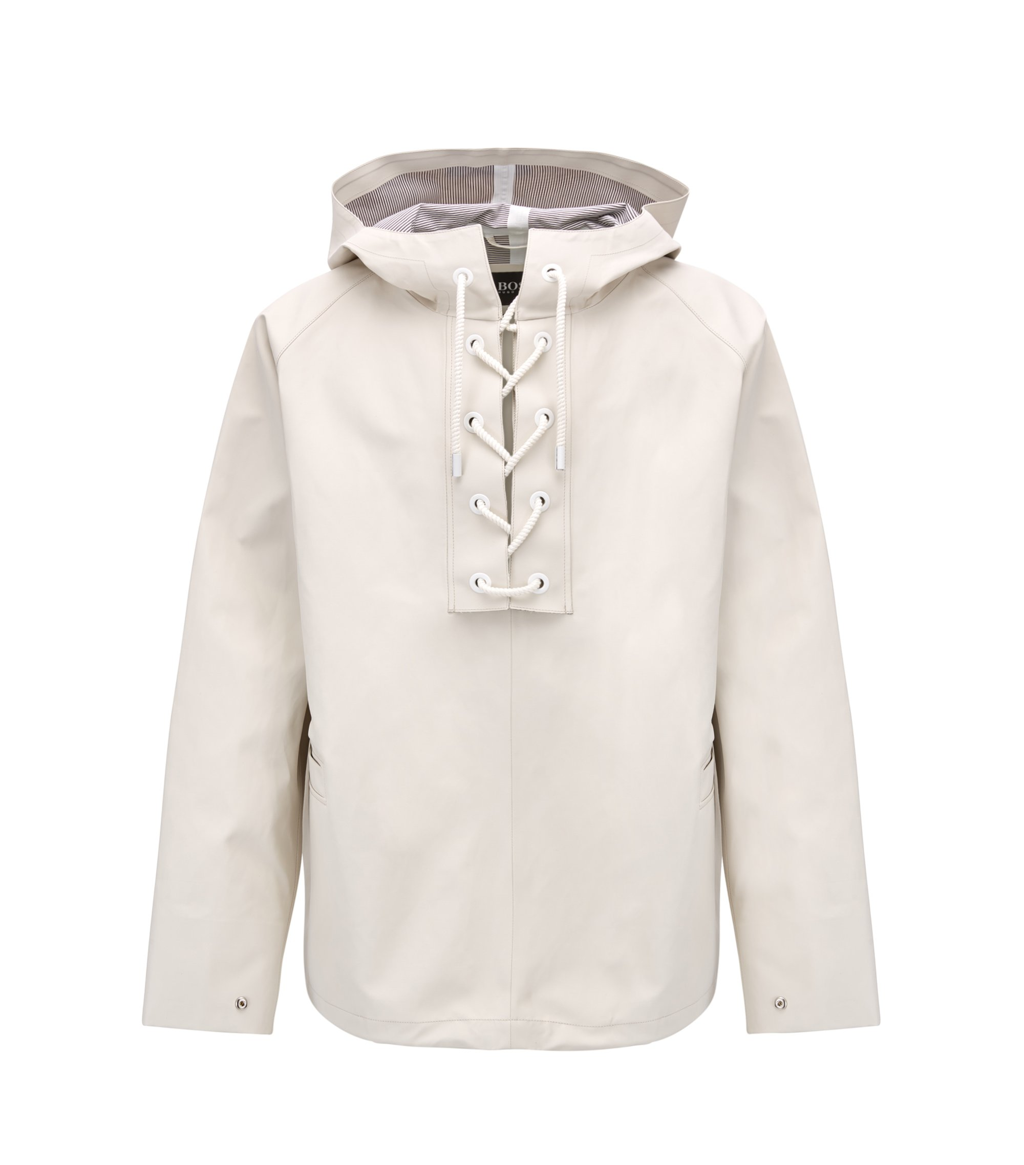 Hooded jacket with lace-up front detail, Natural