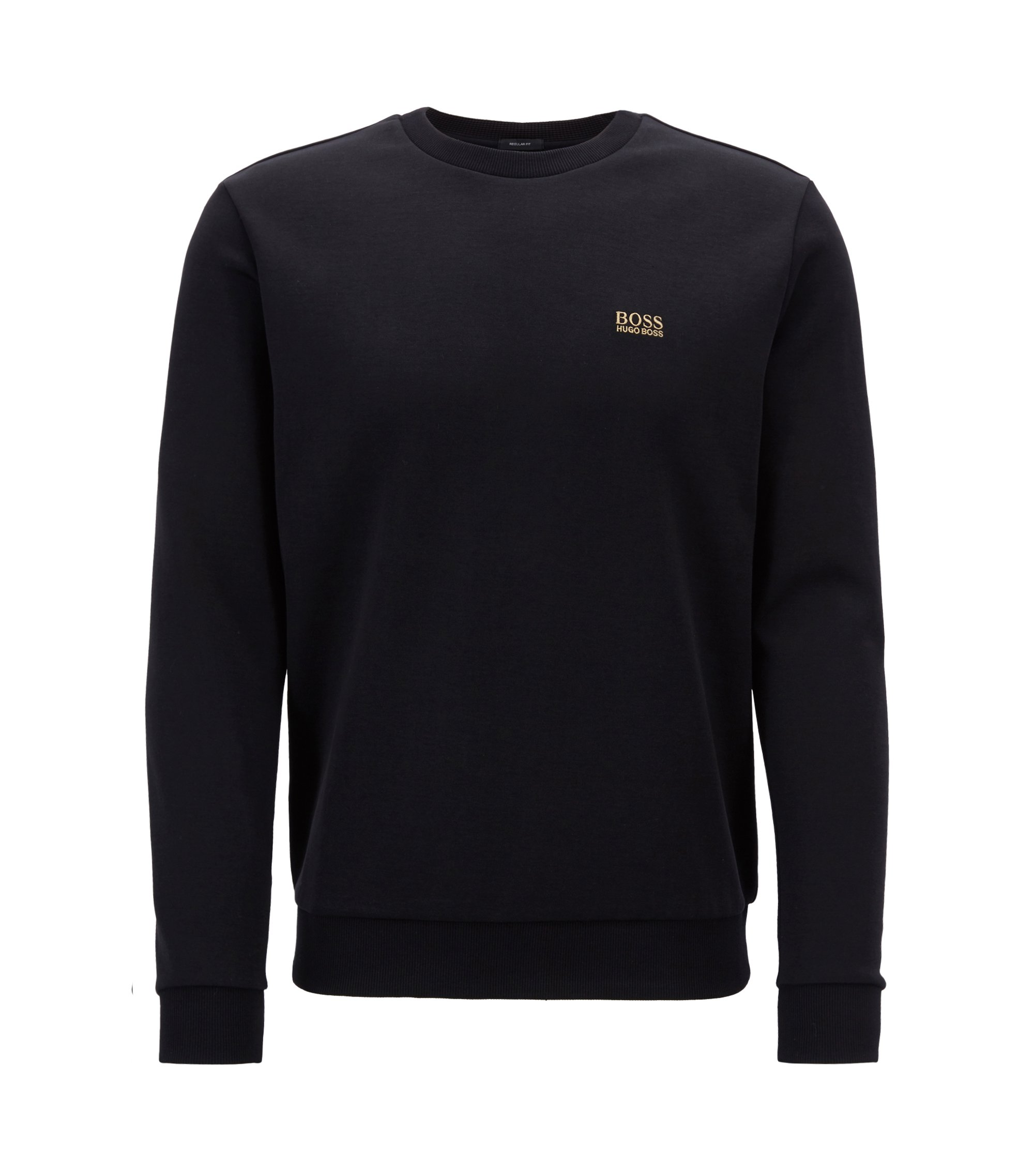 Crew-neck sweatshirt in a double-faced cotton blend, Black