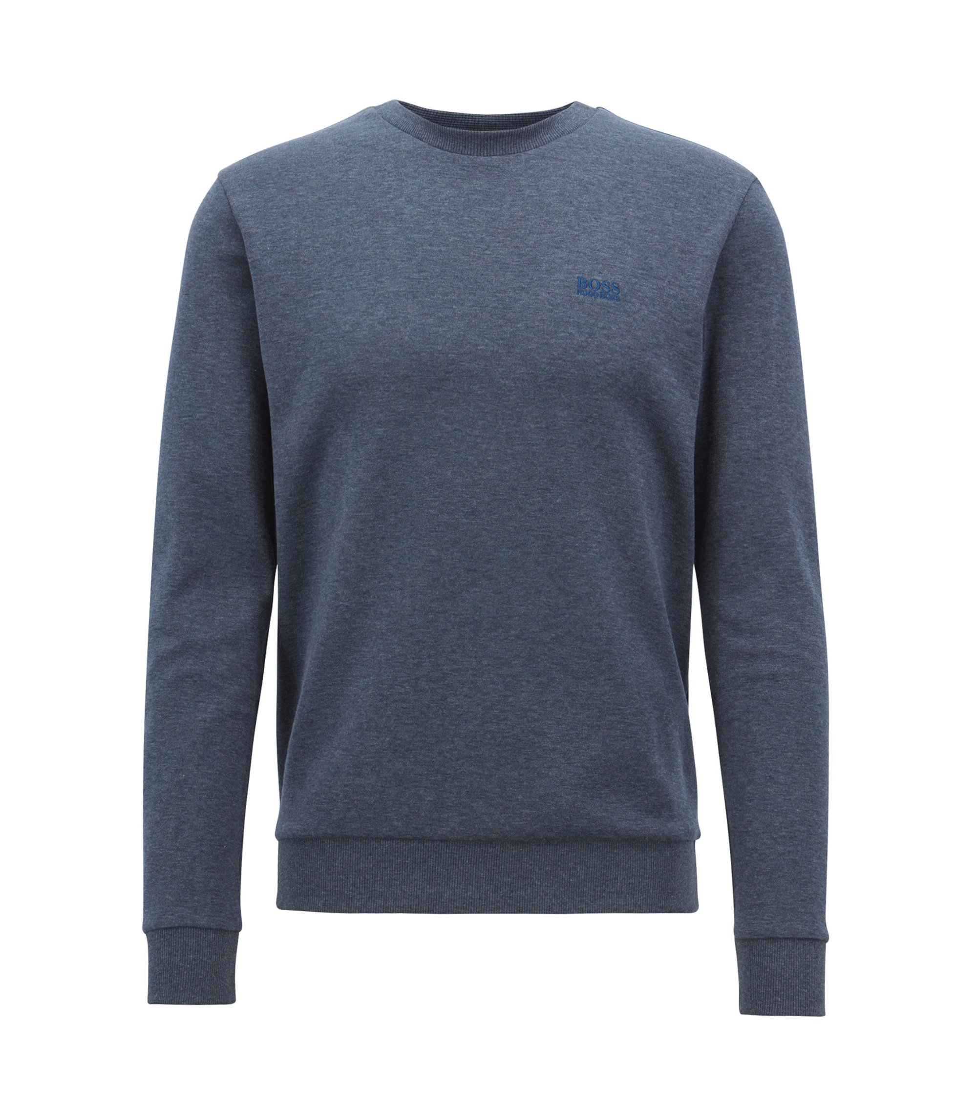 Crew-neck sweatshirt in a double-faced cotton blend, Dark Blue