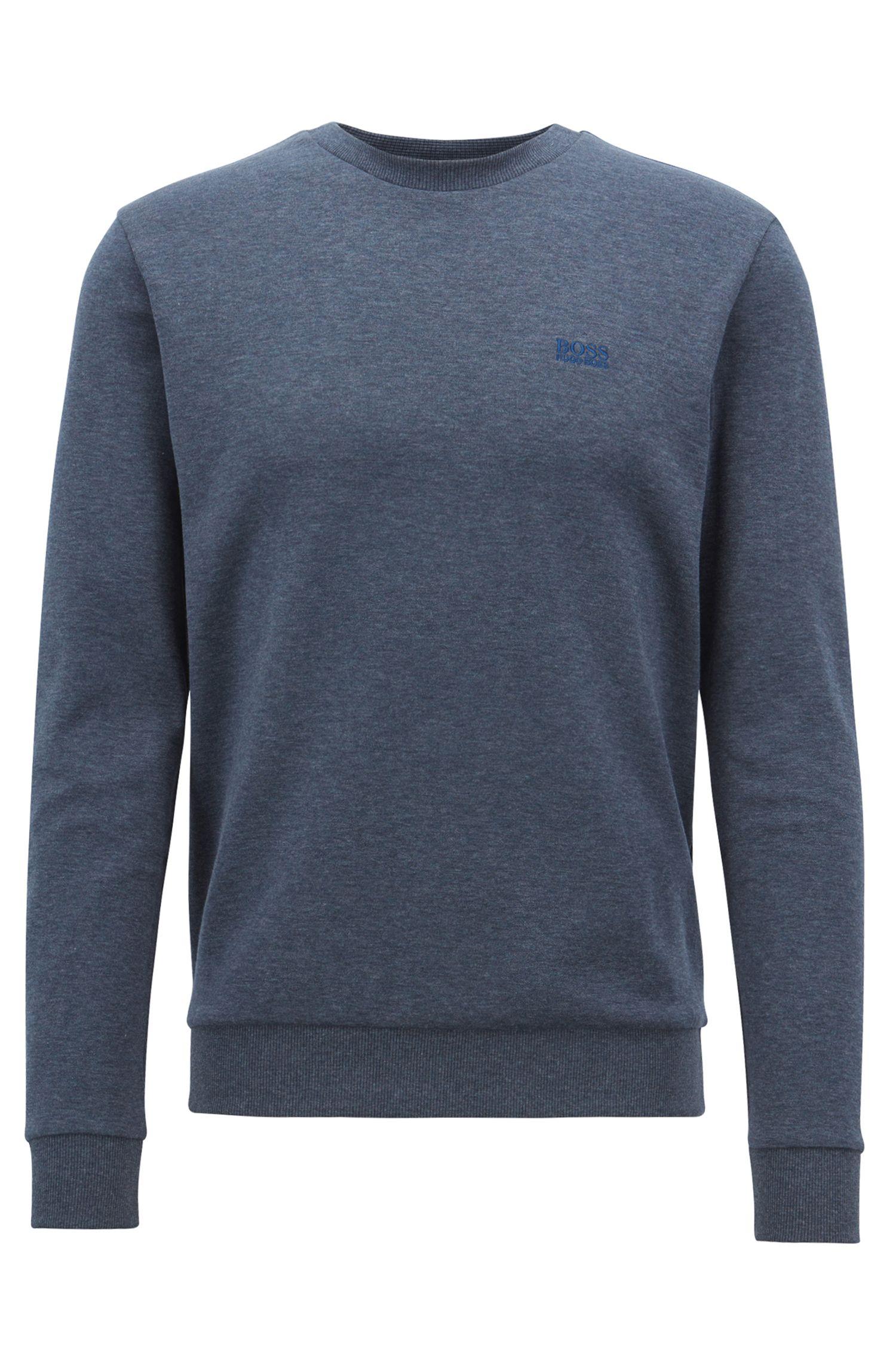 Sweatshirt aus zweiseitigem Baumwoll-Mix mit Rundhalsausschnitt, Dunkelblau