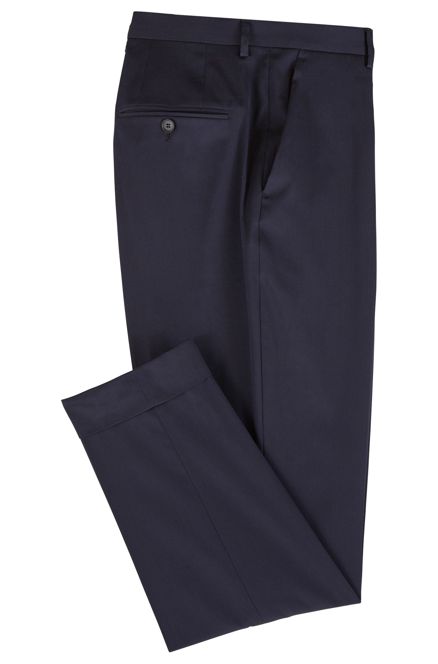 Cropped trousers in stretch cotton with turn-ups