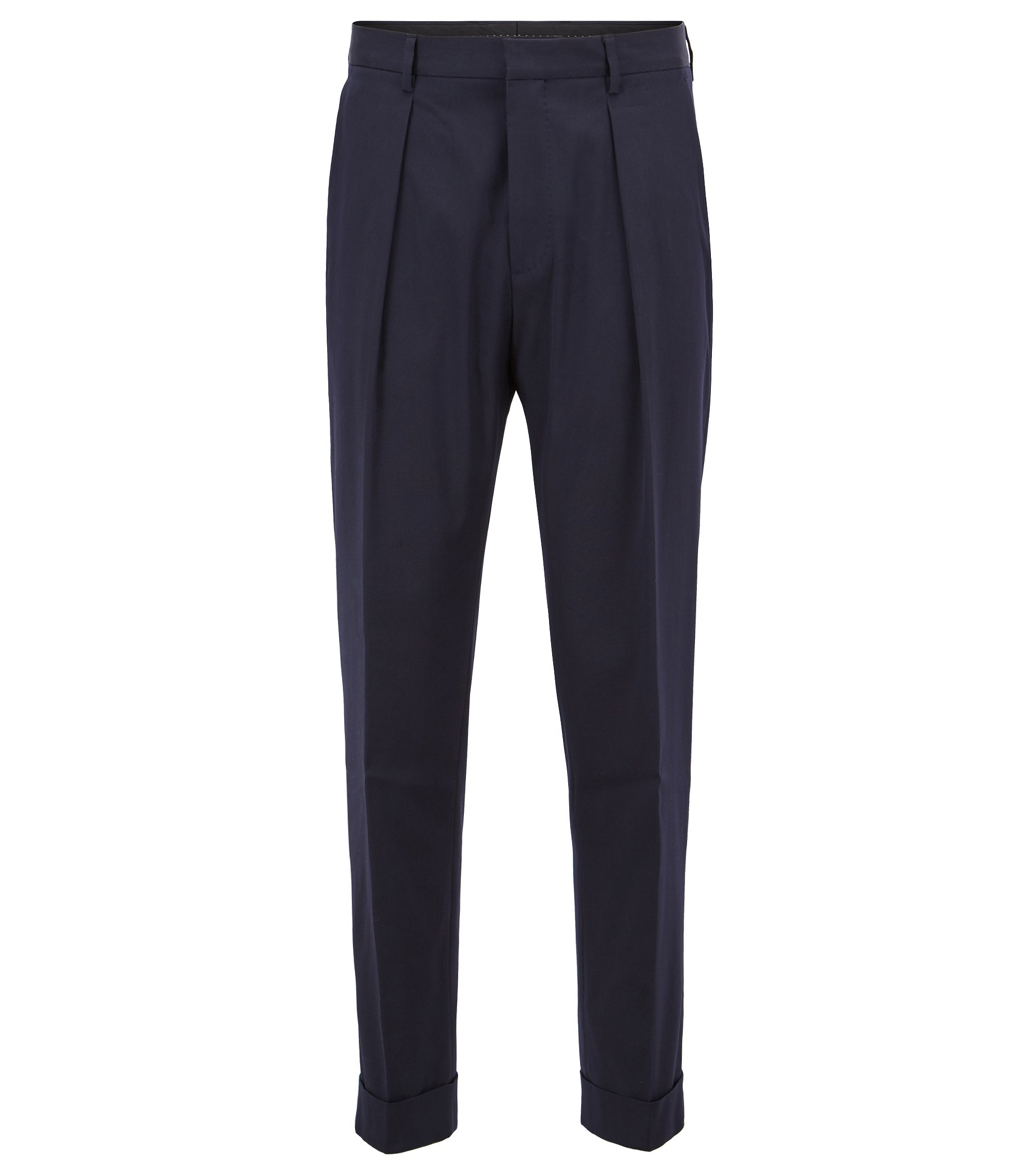 Cropped trousers in stretch cotton with turn-ups, Blue
