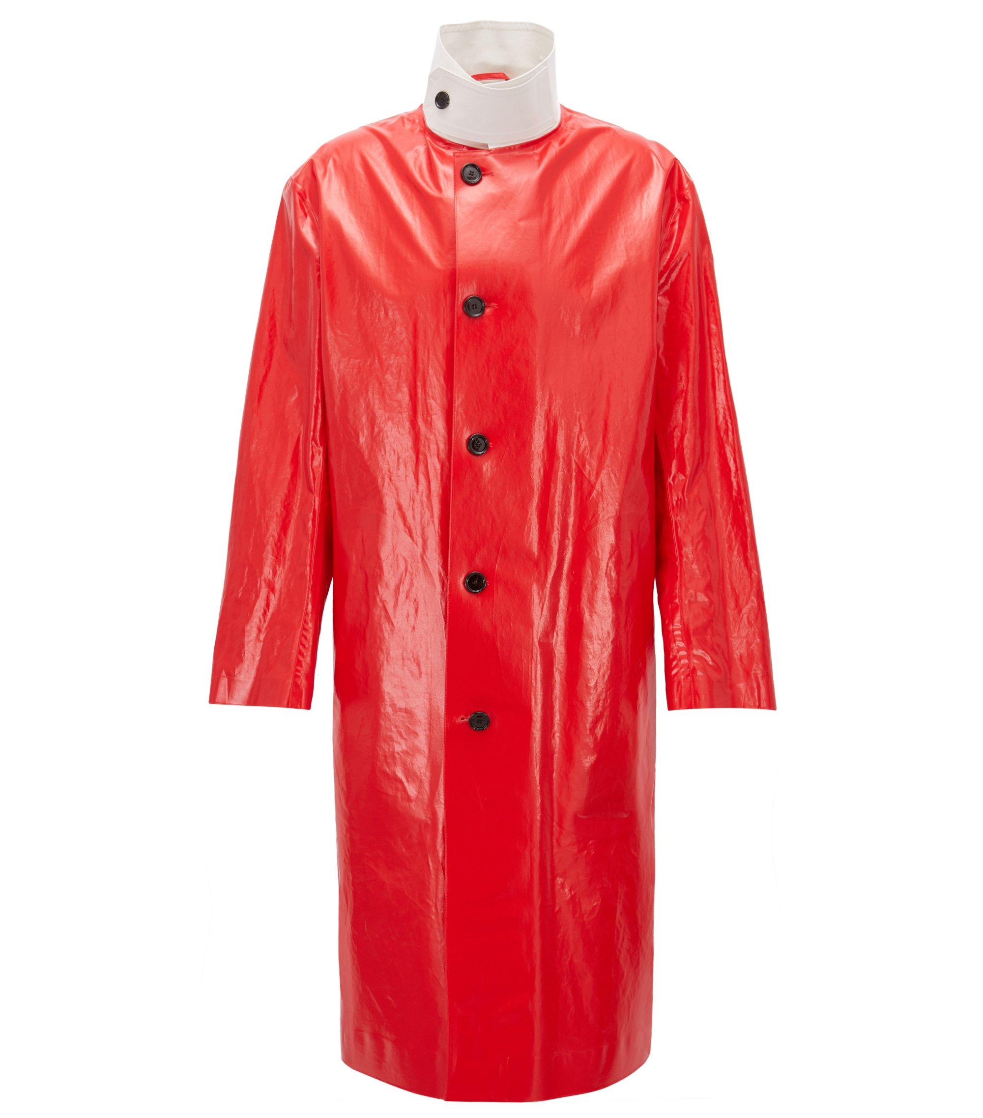 Long trench-coat en coton enduit à col contrasté , Rouge