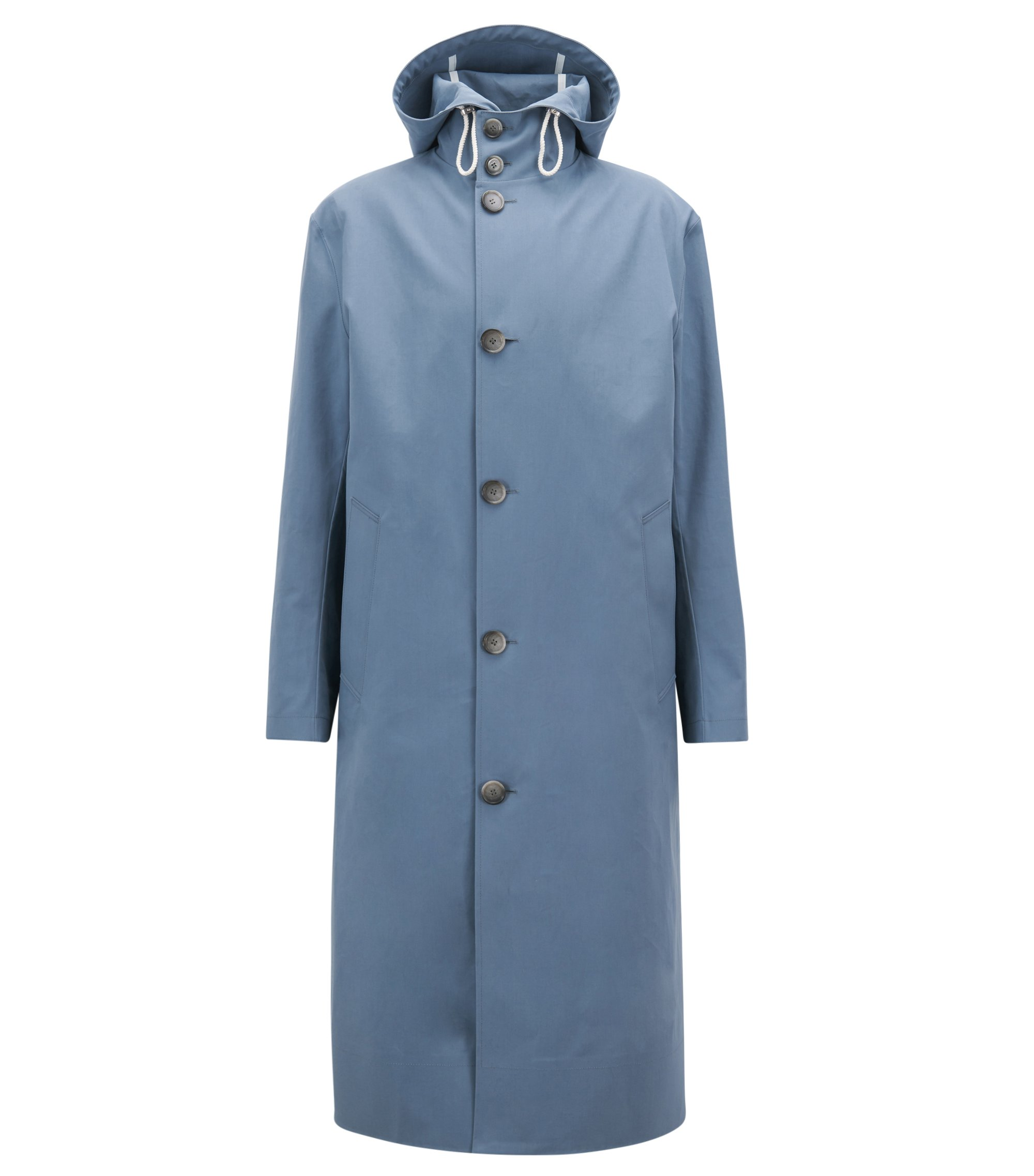 Long-length raincoat in water-repellent cotton, Grey